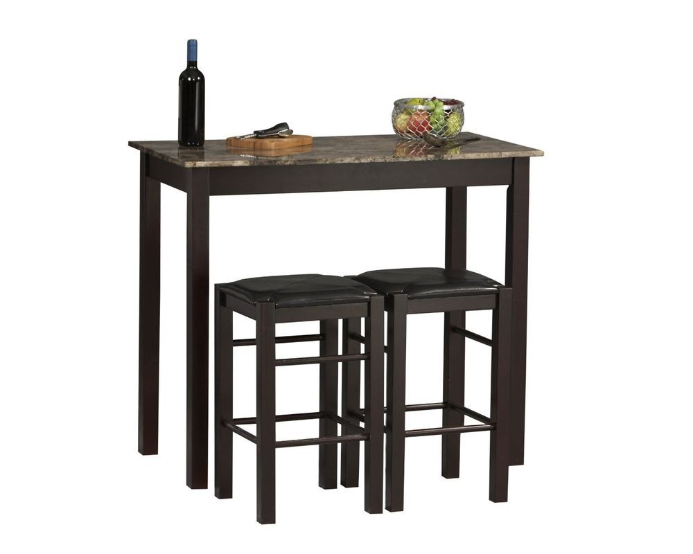 Details About 3 Piece Bar Table Set Pub Stools Counter Height Chairs Within Newest Sheetz 3 Piece Counter Height Dining Sets (View 16 of 20)