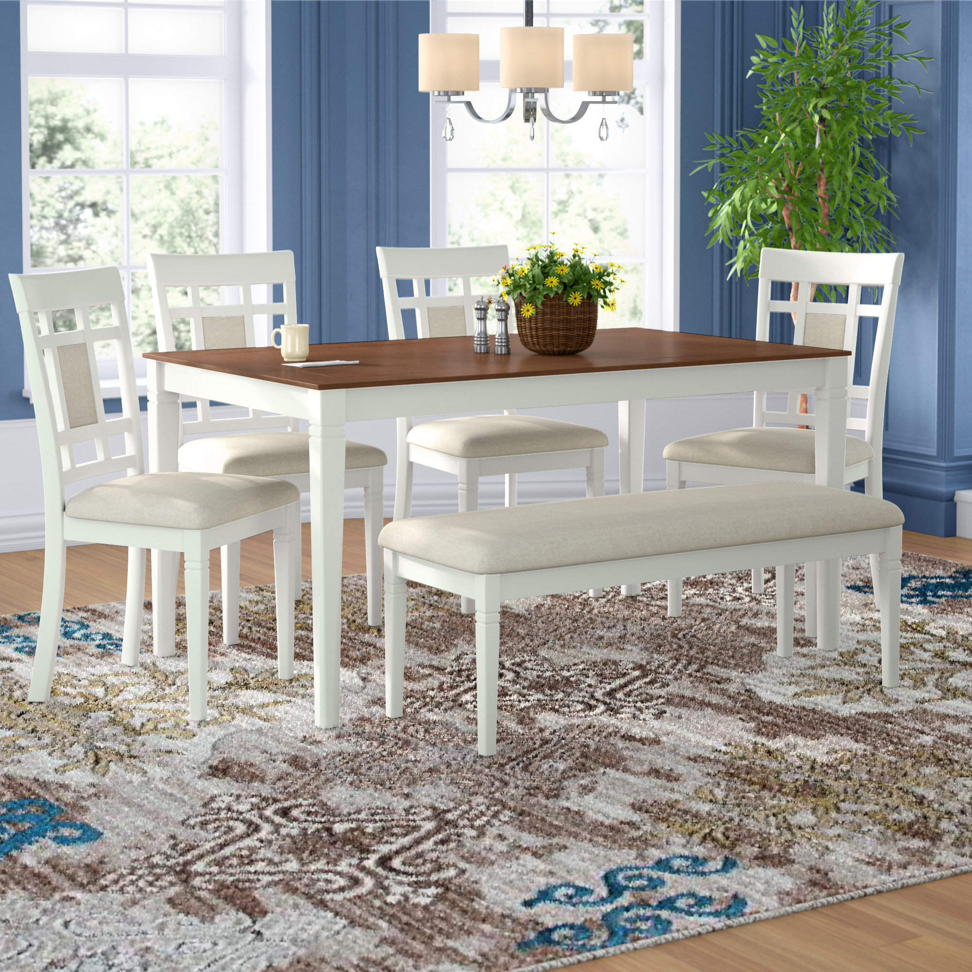 Details About Alcott Hill Hillside Avenue 6 Piece Breakfast Nook Dining Set Regarding Most Up To Date Lightle 5 Piece Breakfast Nook Dining Sets (Image 4 of 20)