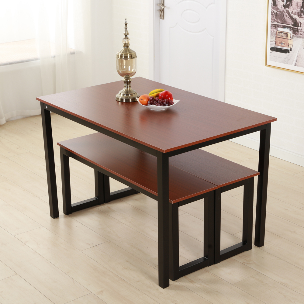 Details About Brown Dining Table Set 3 Piece Benches Breakfast Nook Steel  Frame Kitchen New For Current Lillard 3 Piece Breakfast Nook Dining Sets (Image 3 of 20)