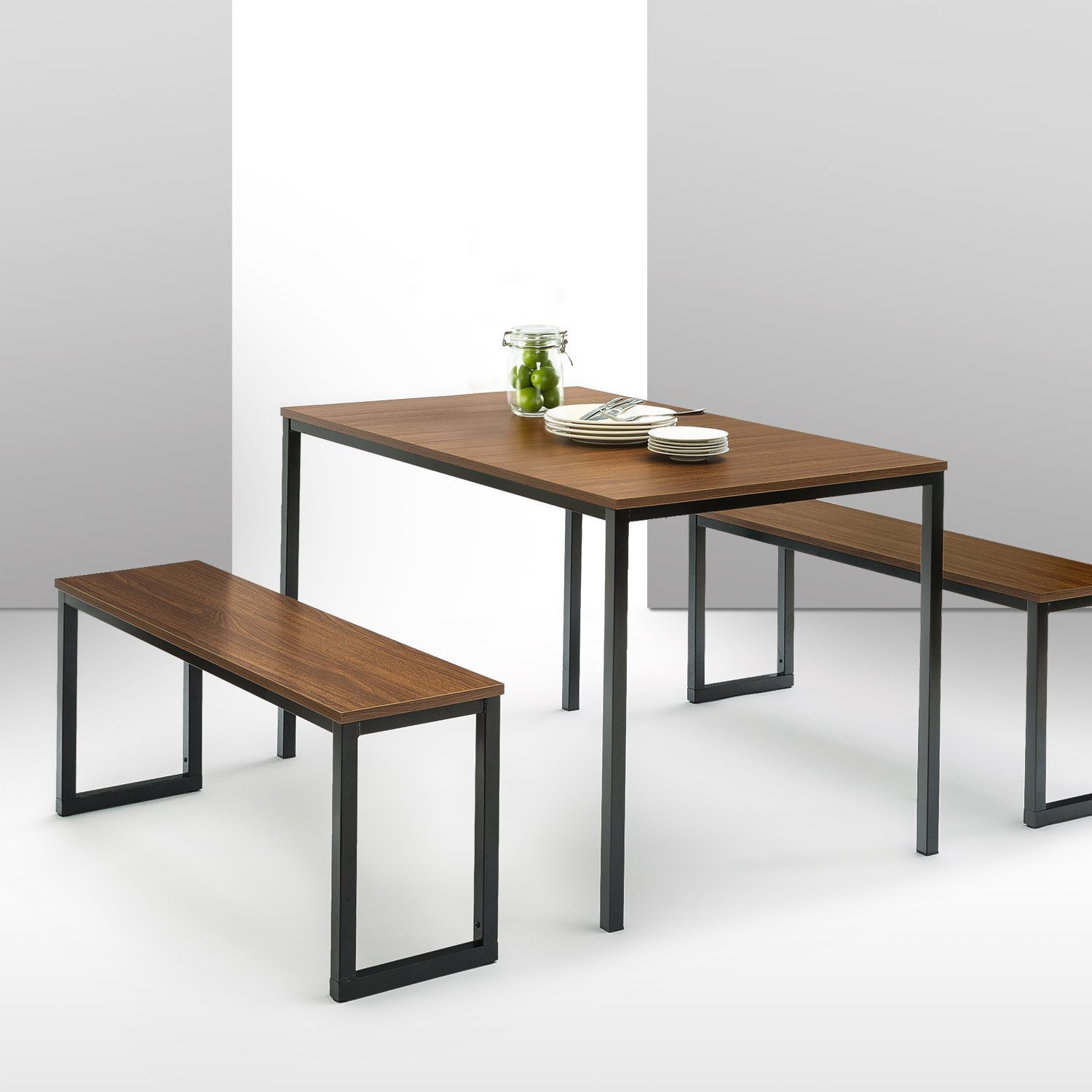Details About Brown Dining Table Set 3 Piece Benches Breakfast Nook Steel Frame Kitchen New In Recent Lillard 3 Piece Breakfast Nook Dining Sets (View 3 of 20)