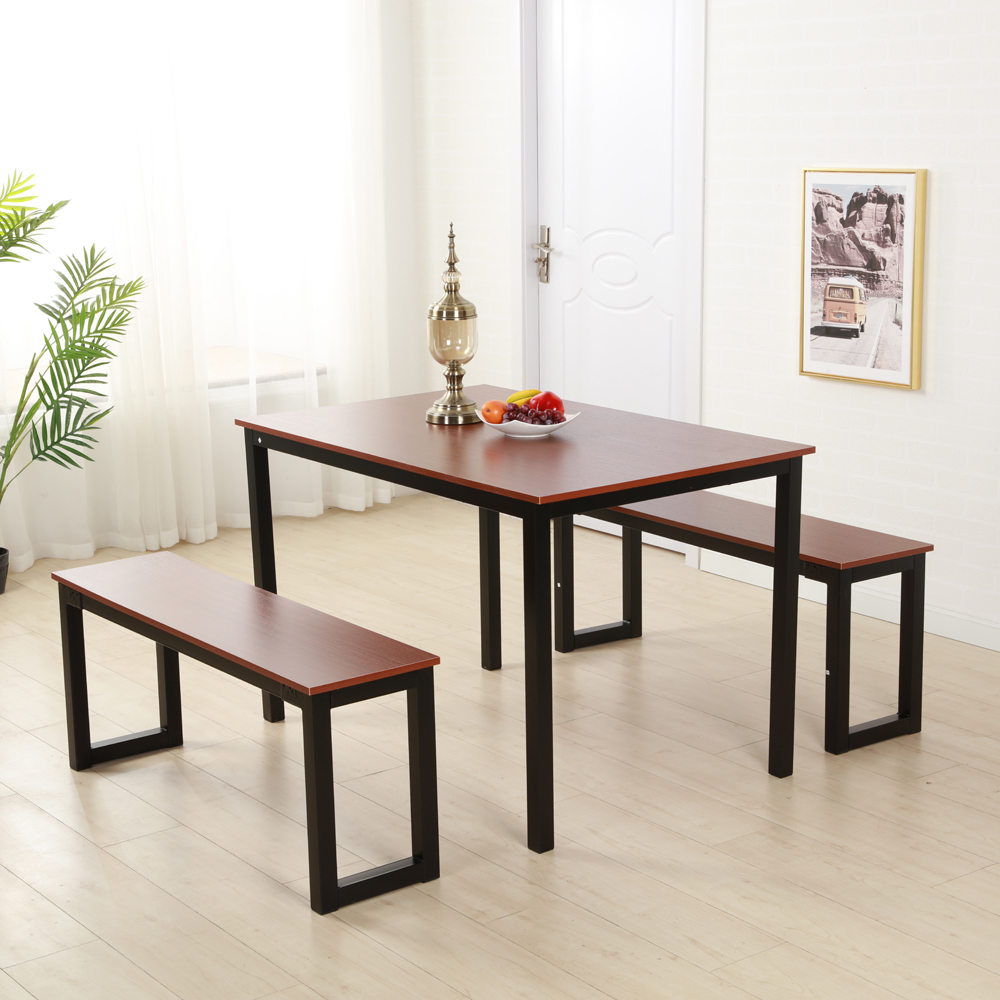 Details About Brown Dining Table Set 3 Piece Benches Breakfast Nook Steel  Frame Kitchen New Inside Recent Lillard 3 Piece Breakfast Nook Dining Sets (Photo 4 of 20)