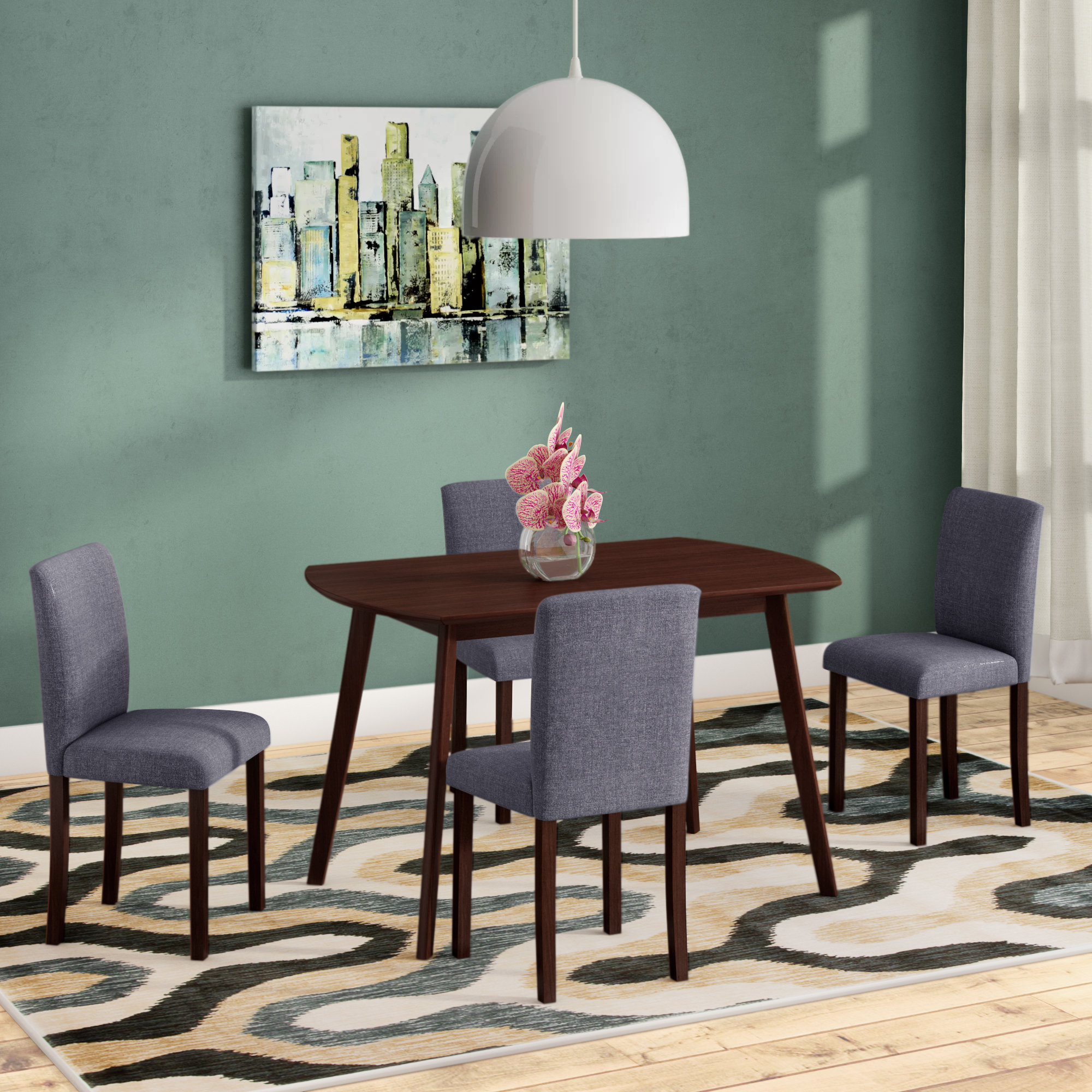 Details About Ebern Designs Errico 5 Piece Solid Wood Dining Set In Current Ephraim 5 Piece Dining Sets (View 18 of 20)