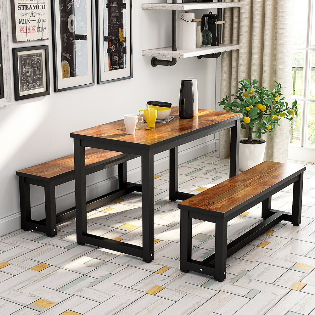 Details About Gracie Oaks Parikh 3 Piece Dining Set Pertaining To Latest Autberry 5 Piece Dining Sets (Image 10 of 20)
