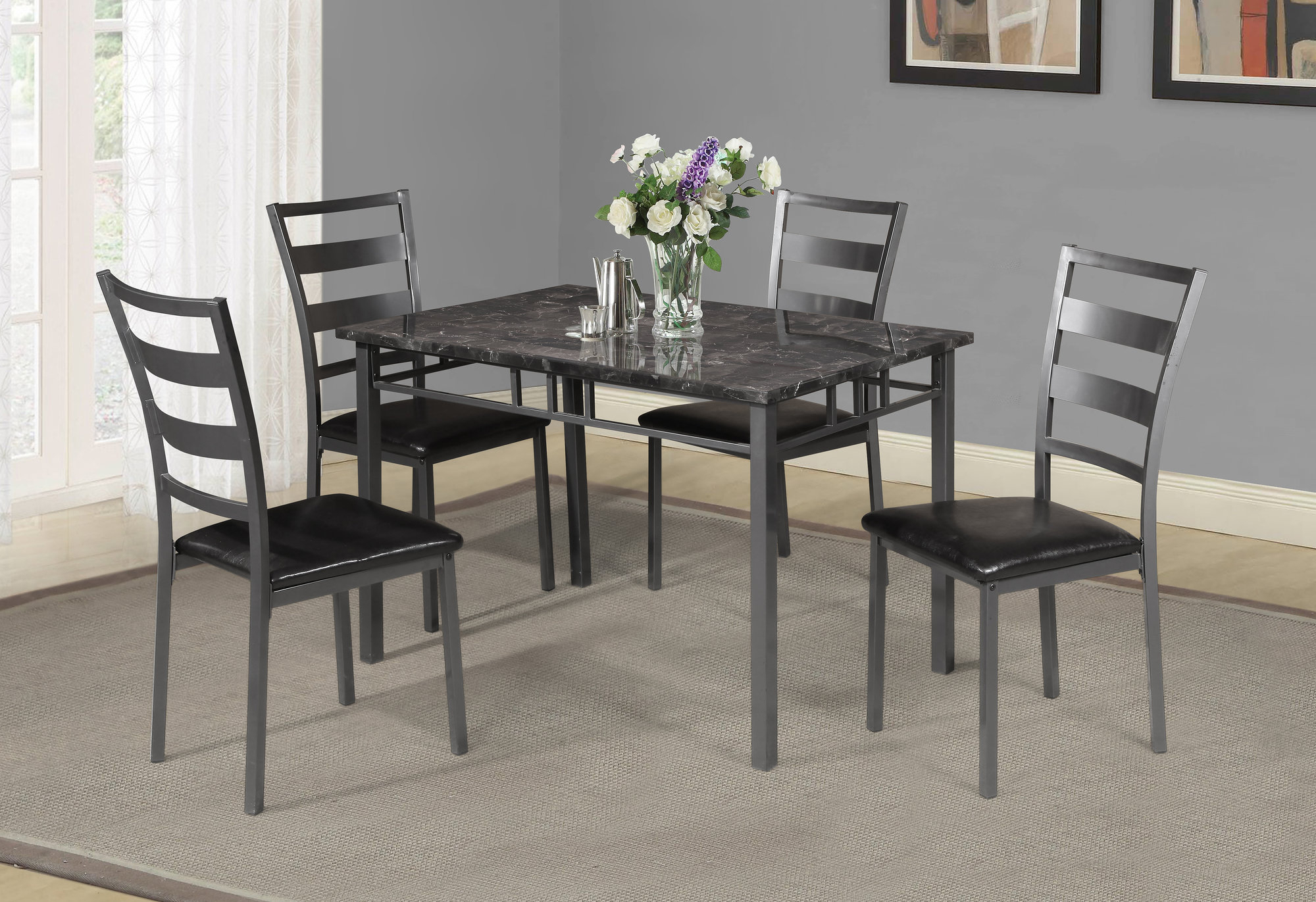 Details About Winston Porter Berke 5 Piece Dining Set For Best And Newest Yedinak 5 Piece Solid Wood Dining Sets (View 15 of 20)