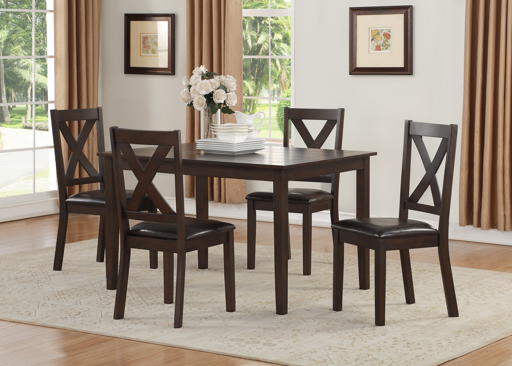 Details About Winston Porter Fitzsimmons 5 Piece Traditional Style Dining Set In Most Recent Mukai 5 Piece Dining Sets (View 8 of 20)