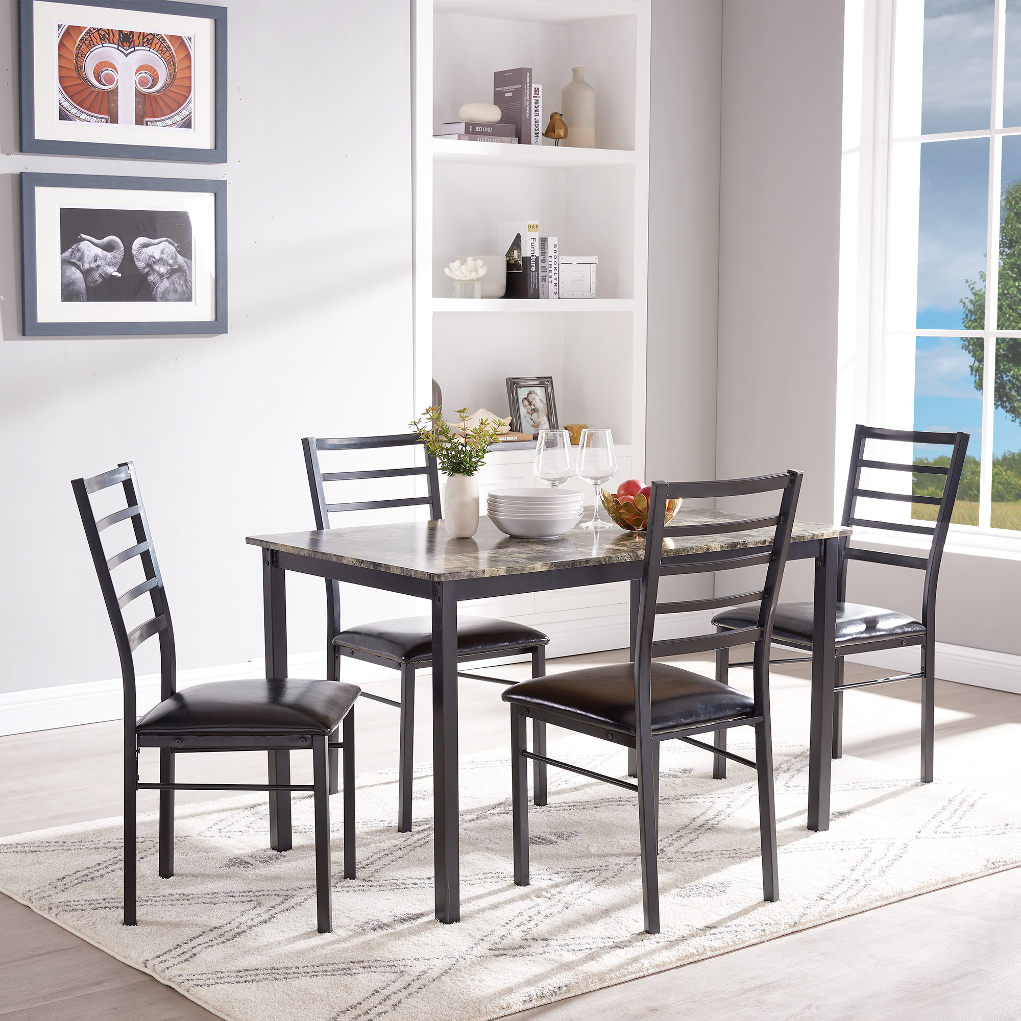 Details About Winston Porter Mukai 5 Piece Dining Set With Regard To Latest Presson 3 Piece Counter Height Dining Sets (Image 6 of 20)