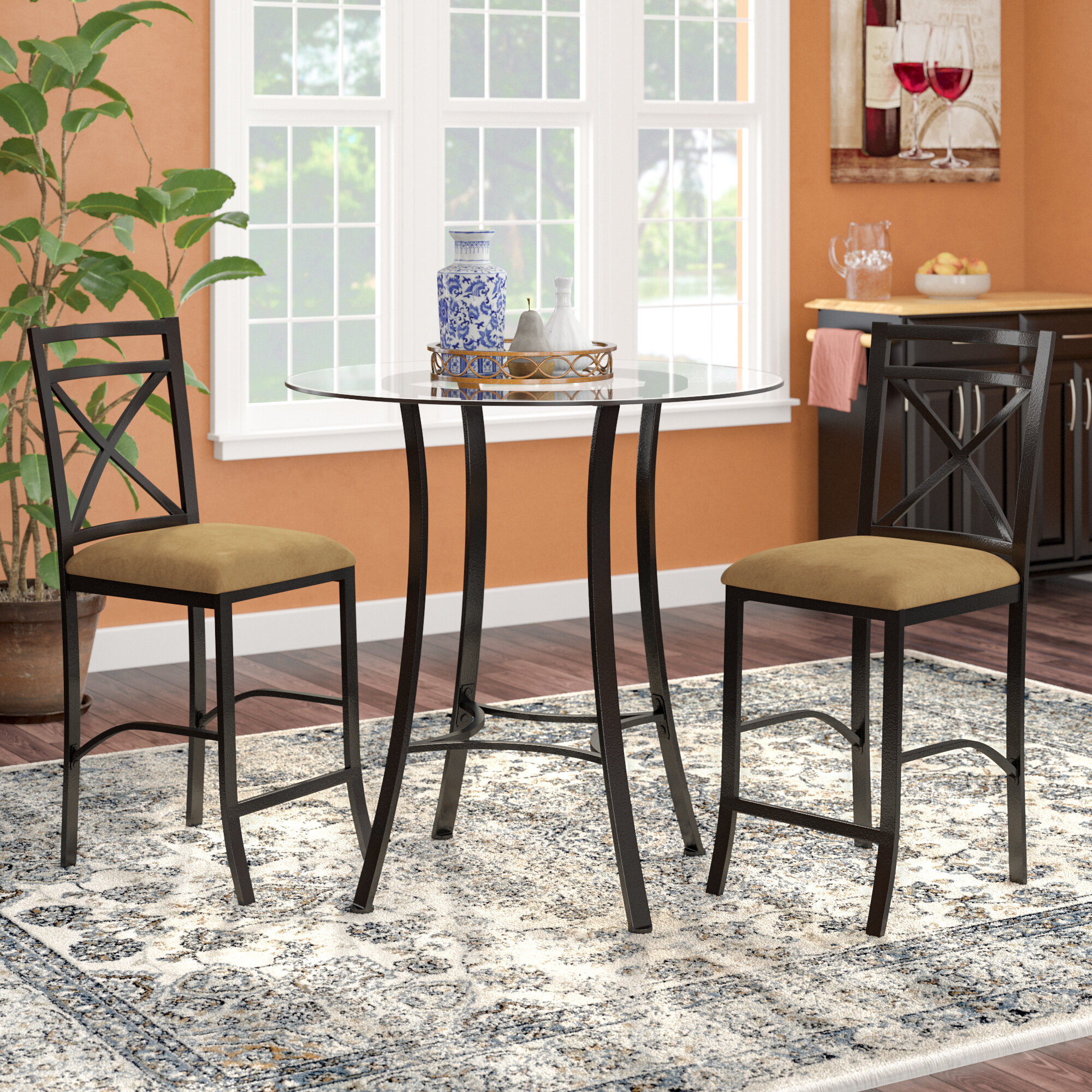 Details About Winston Porter Saleh 3 Piece Counter Height Dining Set Within Most Recent Mizpah 3 Piece Counter Height Dining Sets (Image 10 of 20)