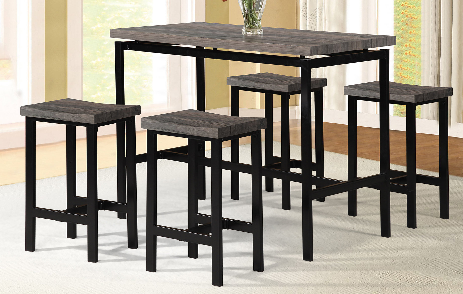 Details About Wrought Studio Denzel 5 Piece Counter Height Breakfast Nook  Dining Set With Regard To Most Current Denzel 5 Piece Counter Height Breakfast Nook Dining Sets (Photo 3 of 20)