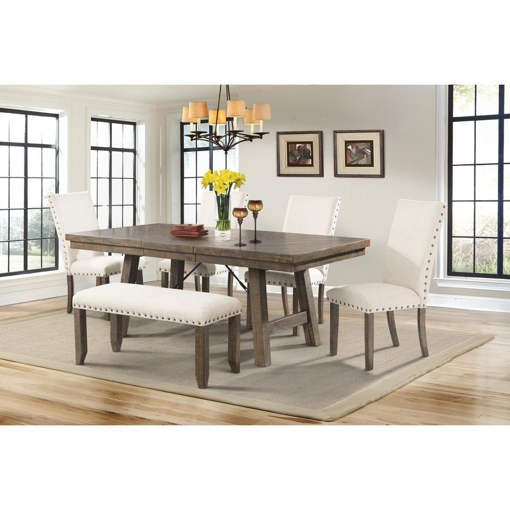 Dex 6 Piece Dining Set Table 4 Upholstered Side Chairs And Bench In With 2017 Winsted 4 Piece Counter Height Dining Sets (View 17 of 20)