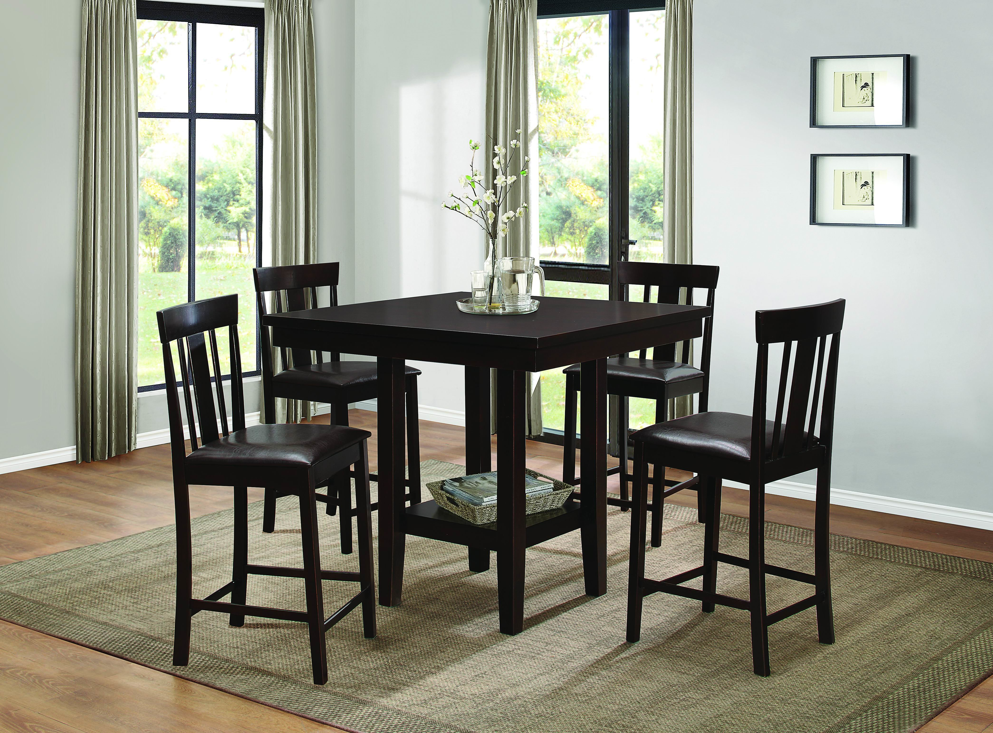 Diego 5 Piece Dining Set Inside Latest Kernville 3 Piece Counter Height Dining Sets (Image 8 of 20)