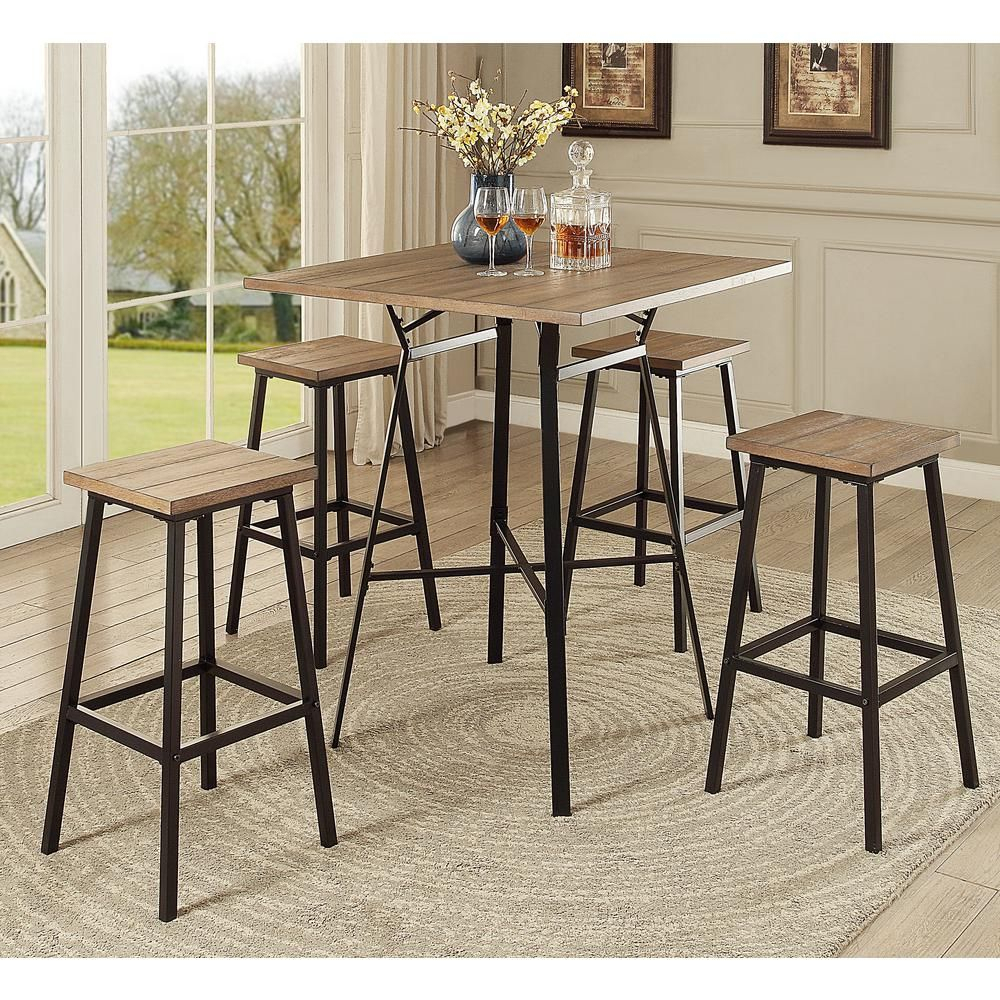 Dora 5 Piece Pack Bar Set, Gray Oak & Black | Products | Furniture For Most Current Calla 5 Piece Dining Sets (Photo 9 of 20)
