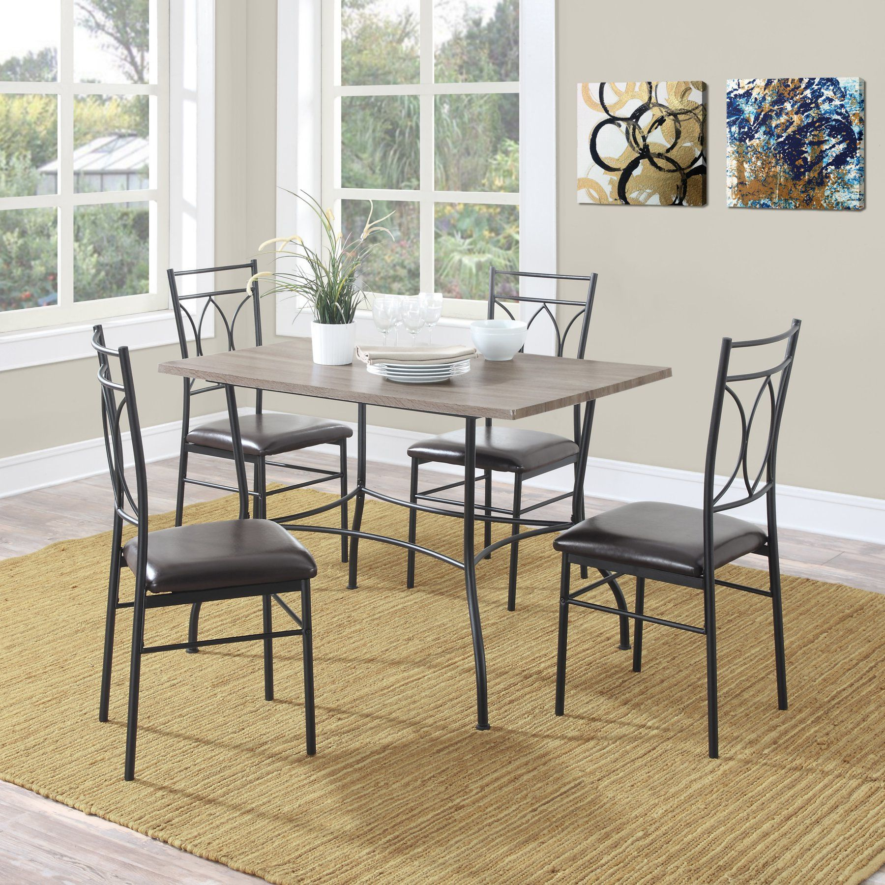 Dorel Living Shelby 5 Piece Rustic Wood & Metal Dining Set Inside Best And Newest Wiggs 5 Piece Dining Sets (View 6 of 20)