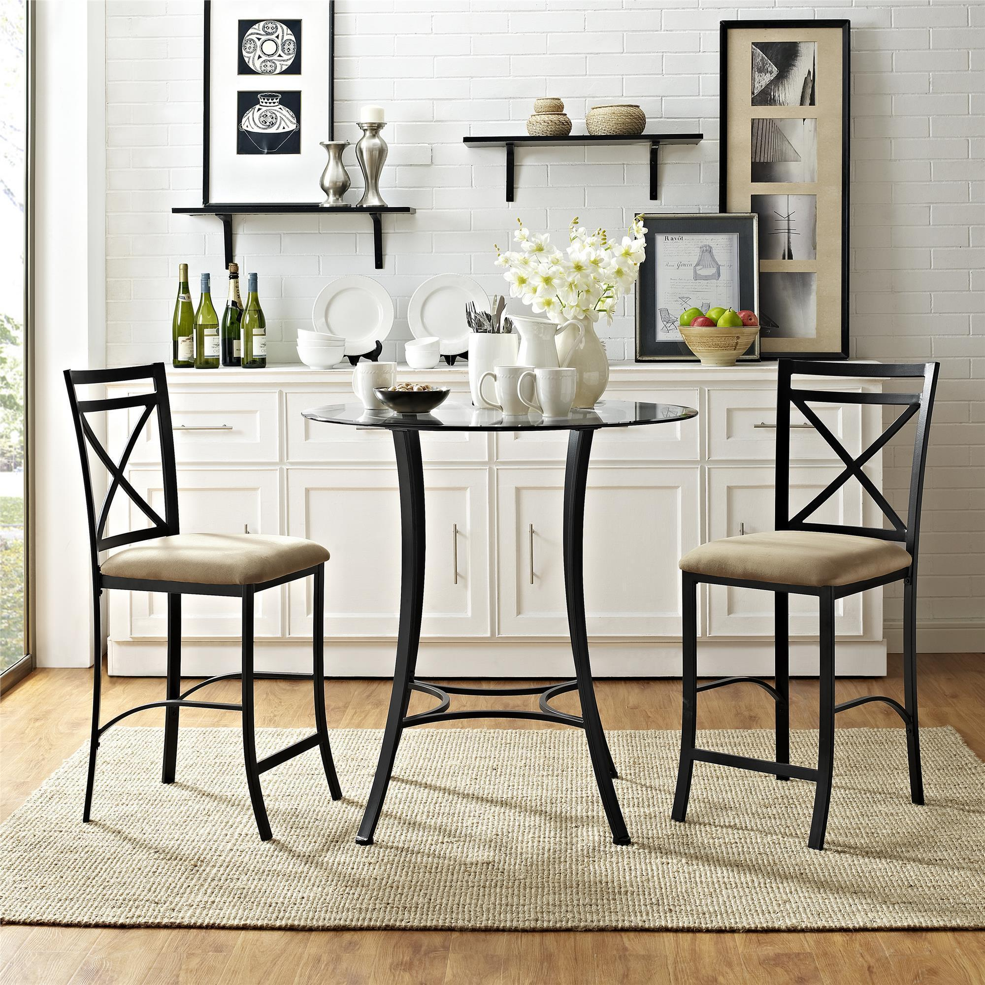 Dorel Living Valerie 3 Piece Counter Height Dining Set Within 2018 3 Piece Dining Sets (View 13 of 20)