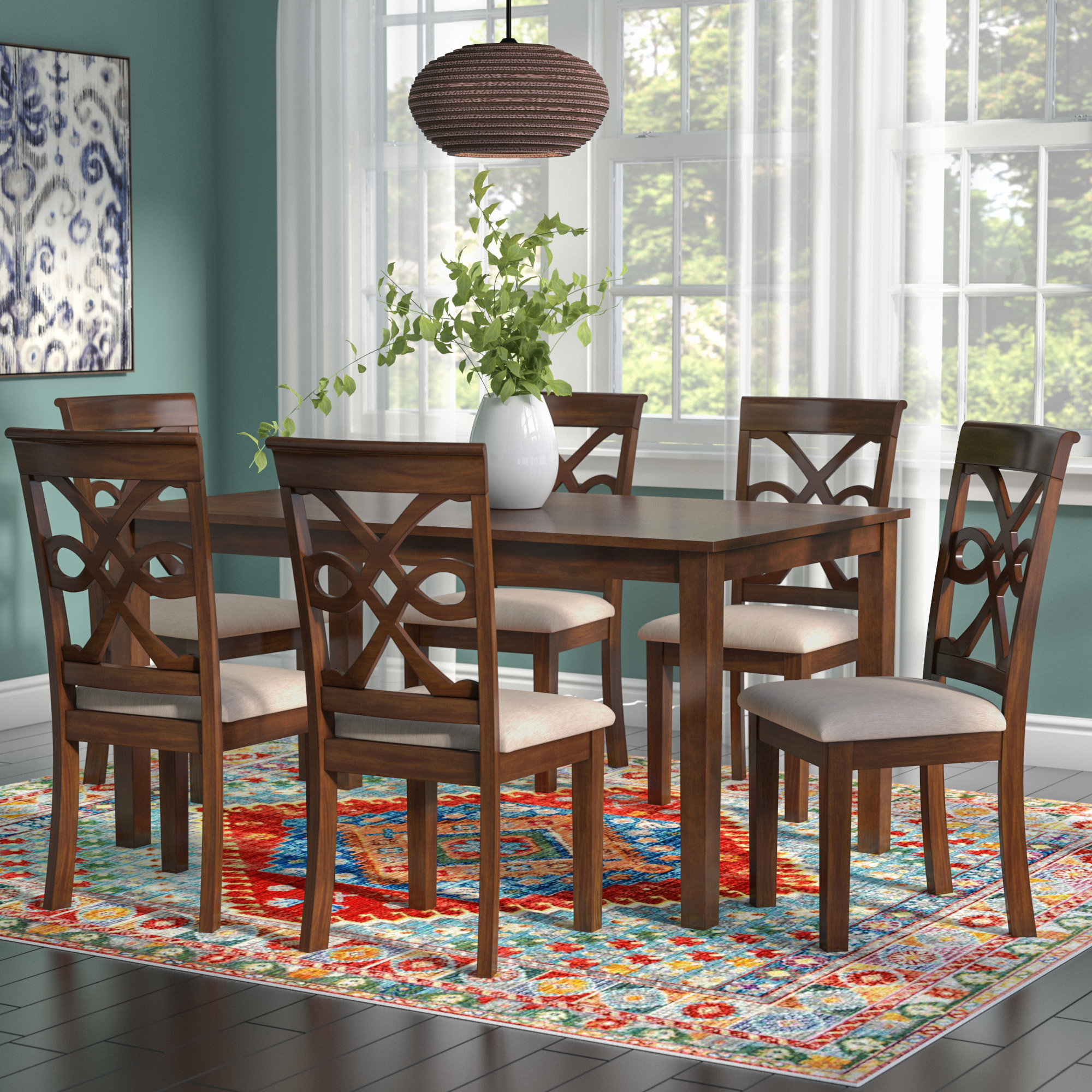 Duron 7 Piece Dining Set Within Latest Laconia 7 Pieces Solid Wood Dining Sets (Set Of 7) (View 2 of 20)