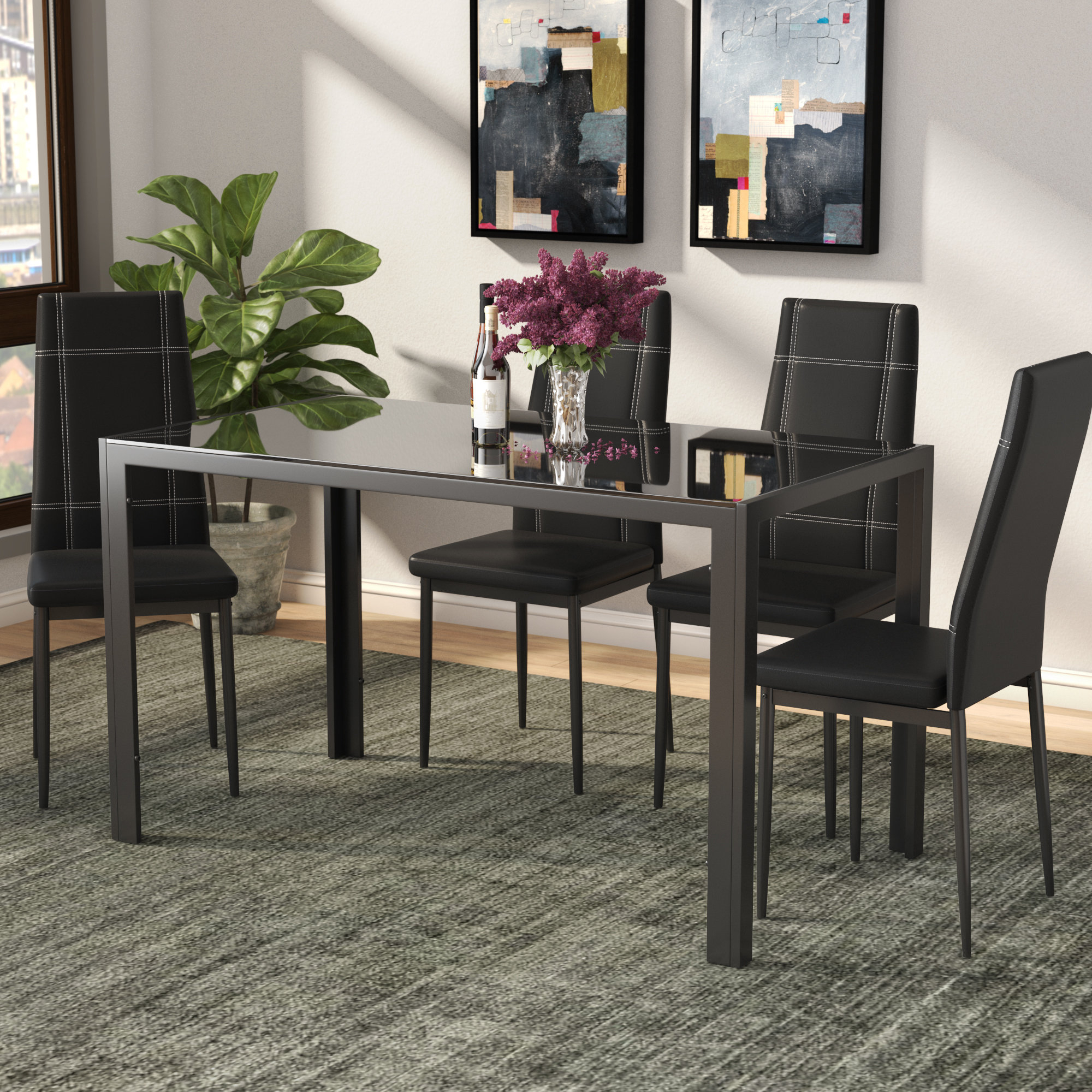 Ebern Designs Maynard 5 Piece Dining Set Pertaining To 2018 Mukai 5 Piece Dining Sets (Photo 12 of 20)