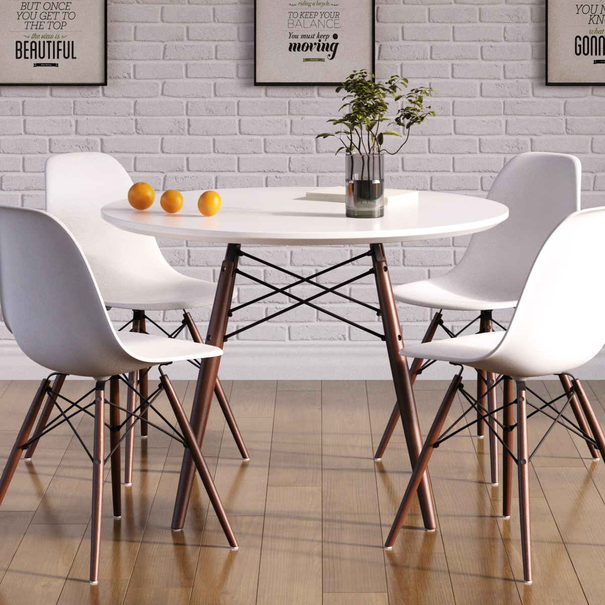 Eiffel Round Dining Table (Large) Pertaining To Most Recent Moorehead 3 Piece Counter Height Dining Sets (View 15 of 20)