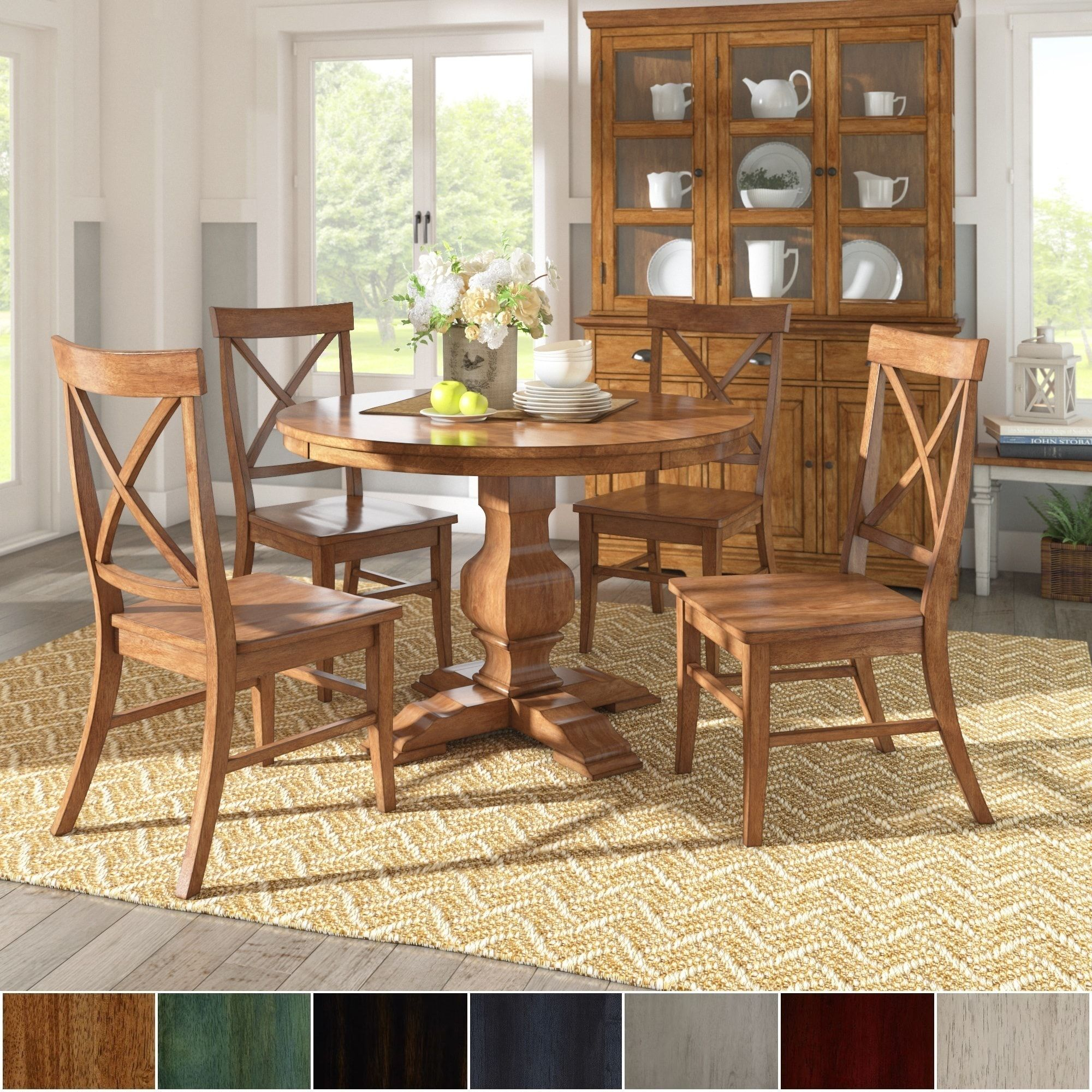 Eleanor Oak Finish Wood 5 Piece Round Table X Back Chairs Dining Set Intended For Recent Ephraim 5 Piece Dining Sets (Photo 17 of 20)