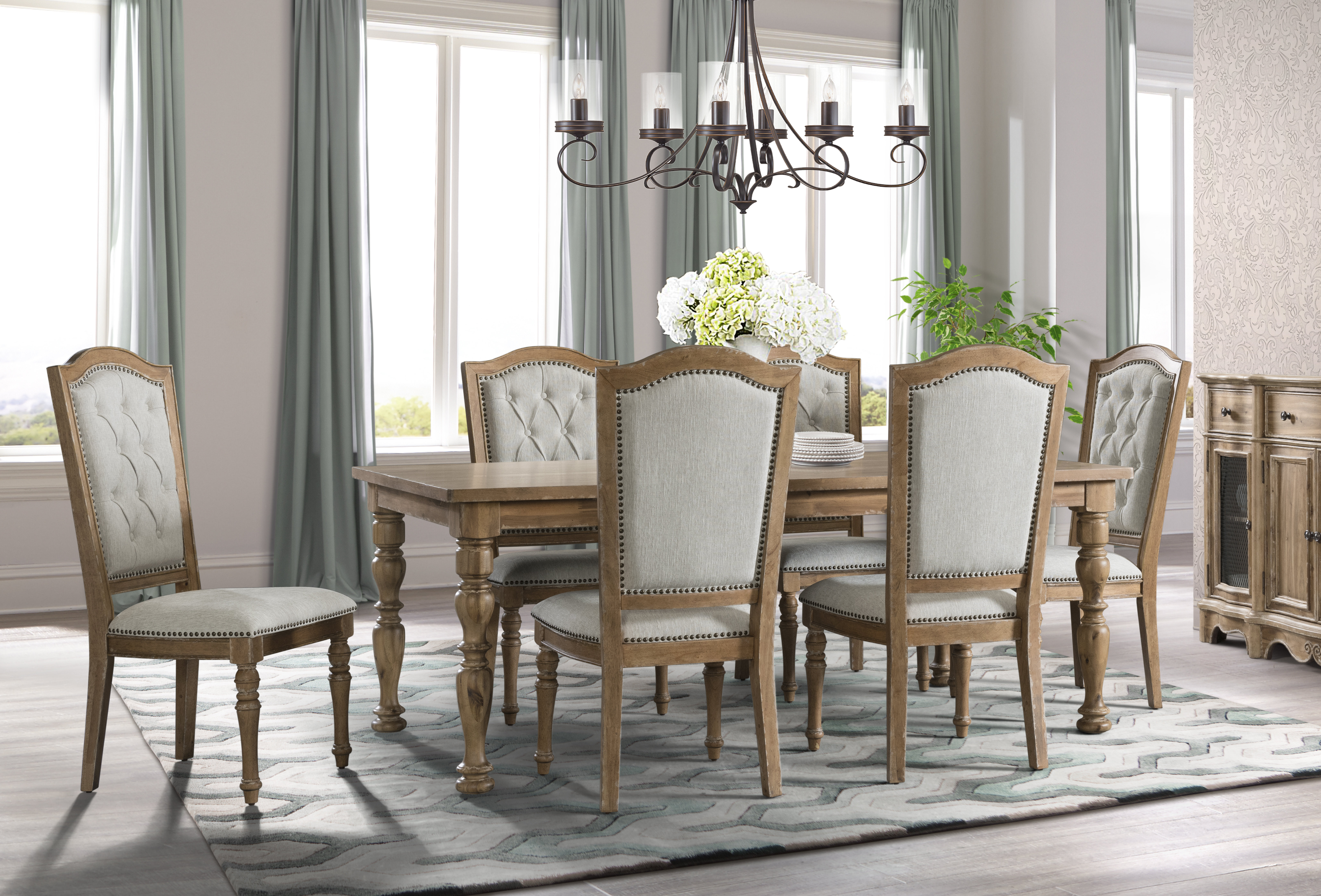 Elena 7 Piece Dining Set Regarding Most Recently Released Queener 5 Piece Dining Sets (View 12 of 20)