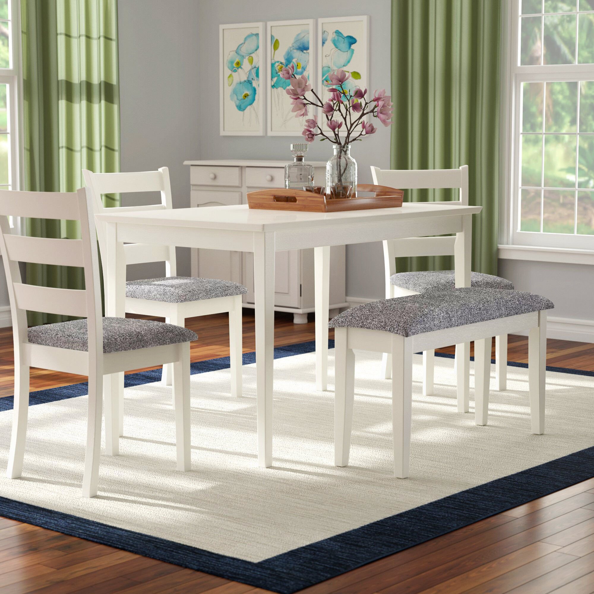 Emmie 5 Piece Dining Set Intended For Current Yedinak 5 Piece Solid Wood Dining Sets (View 12 of 20)