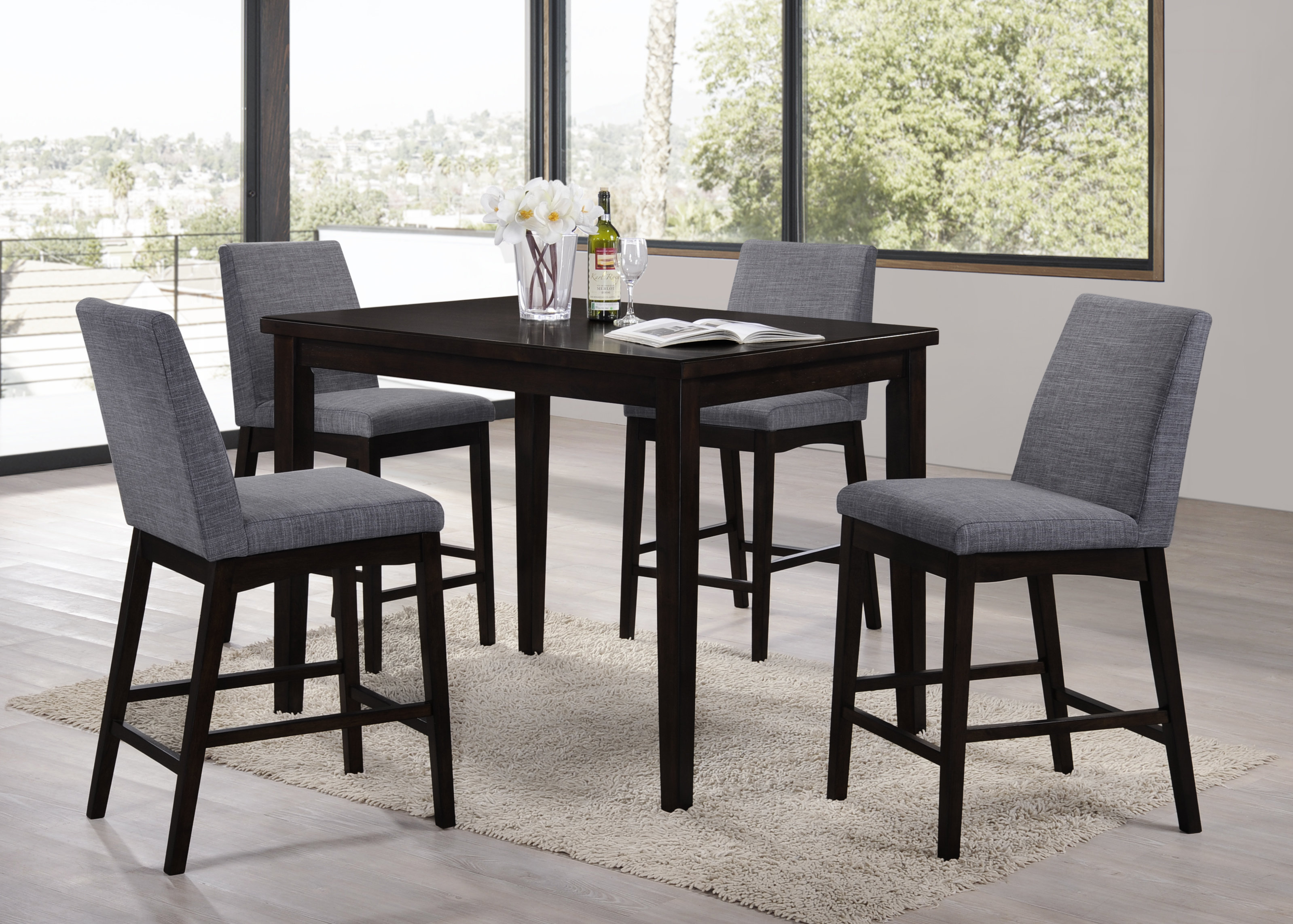 Erdman 5 Piece Bar Height Dining Set For Newest Tenney 3 Piece Counter Height Dining Sets (View 10 of 20)