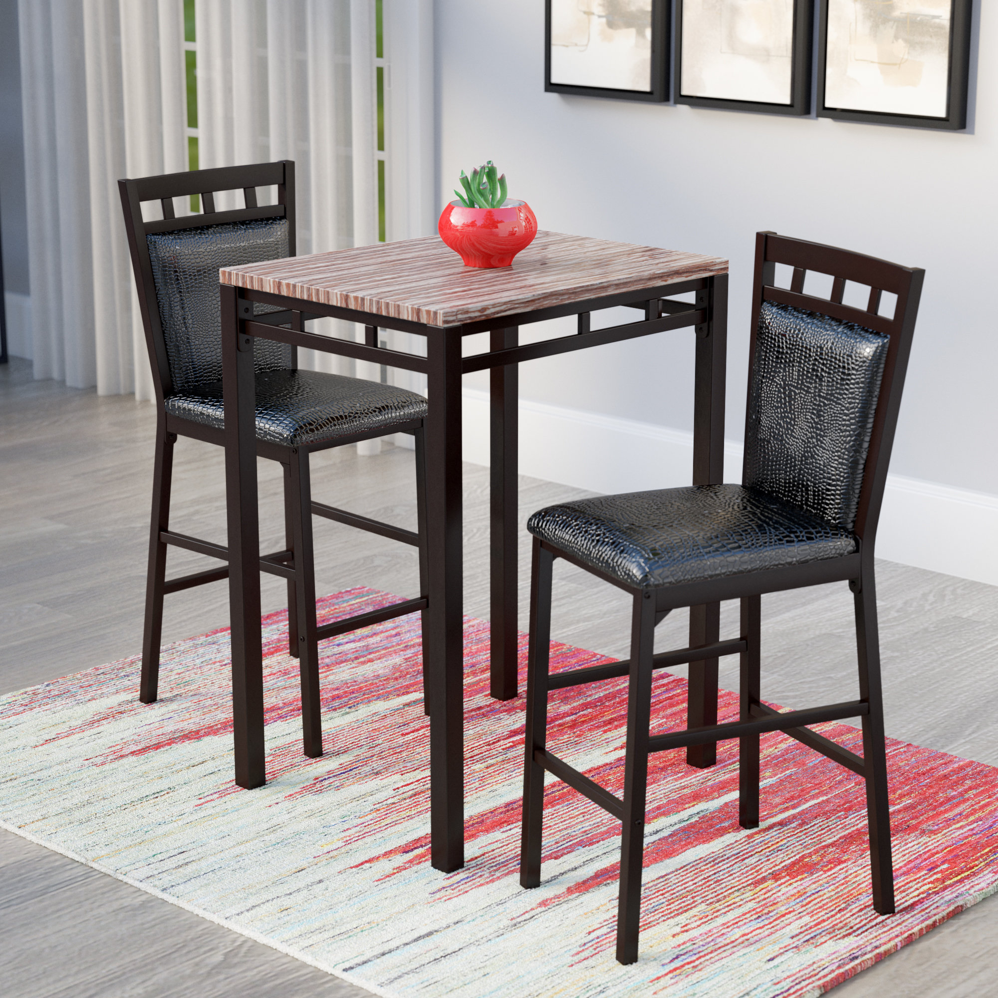 Eric 3 Piece Pub Table Set Within Most Popular Miskell 3 Piece Dining Sets (Photo 6 of 20)