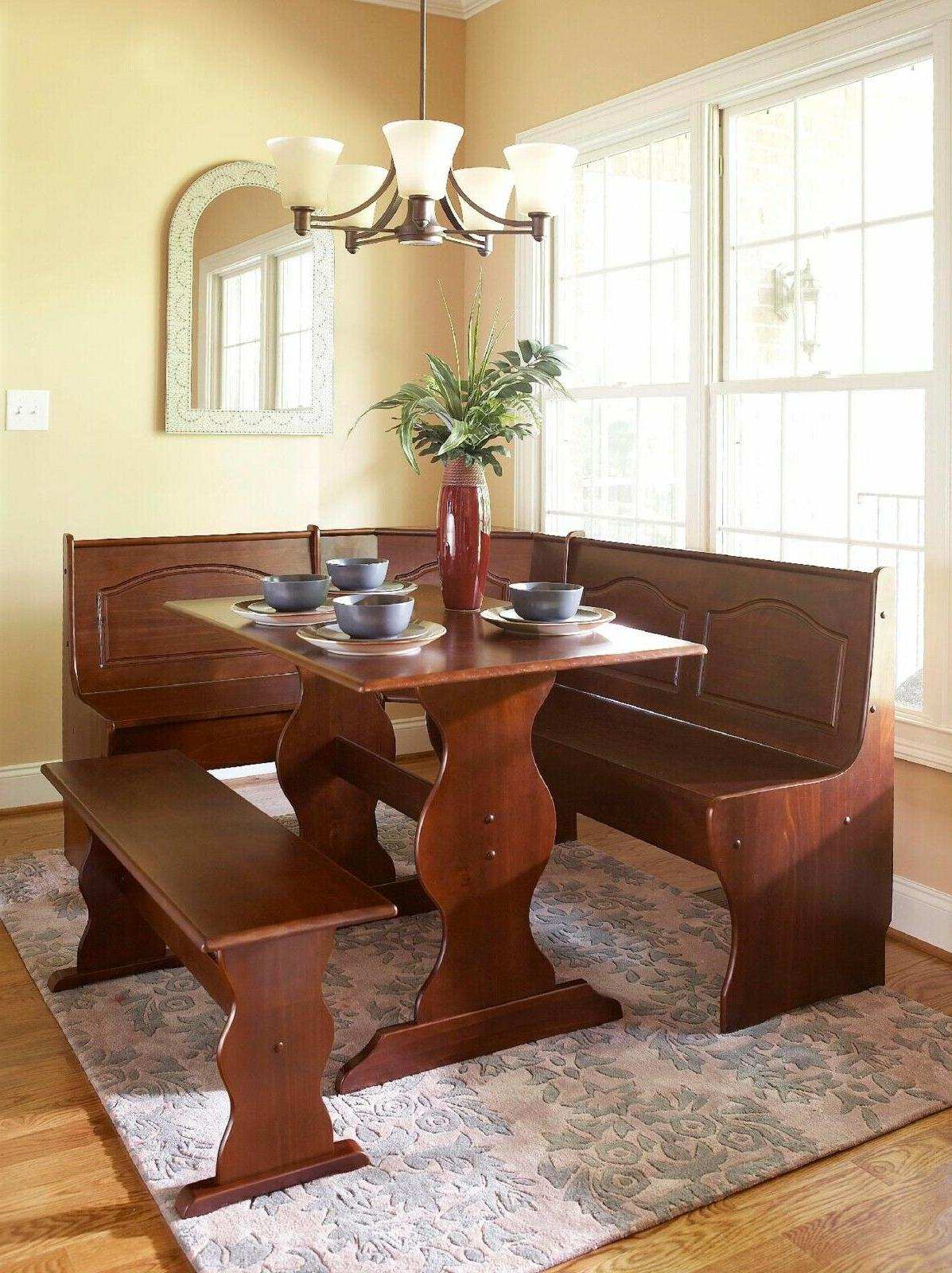 Essential Home 3 Piece Walnut Emily Breakfast Nook With Regard To Most Current Ligon 3 Piece Breakfast Nook Dining Sets (Image 7 of 20)