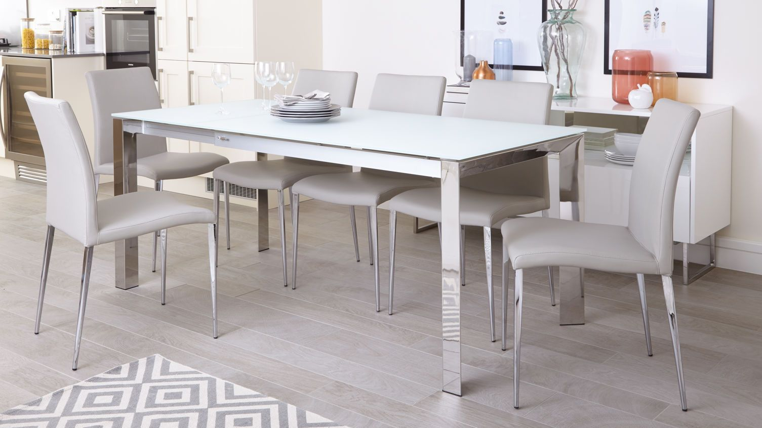 Eve White Frosted Glass With Chrome And Elise Extending Dining Set For Most Up To Date Travon 5 Piece Dining Sets (View 13 of 20)
