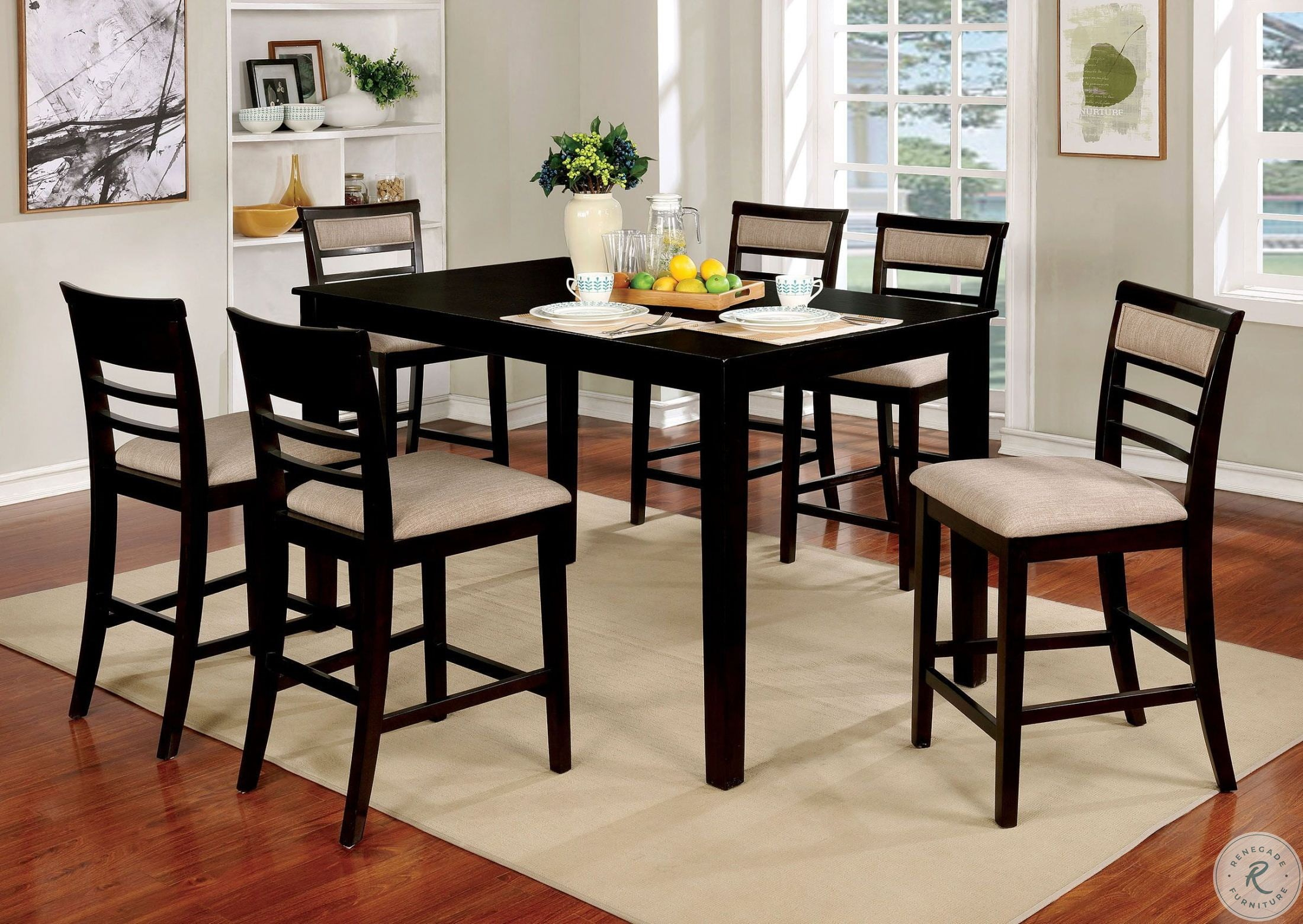 Fafnir Espresso 7 Piece Counter Height Dining Room Set Pertaining To Most Popular Anette 3 Piece Counter Height Dining Sets (View 16 of 20)
