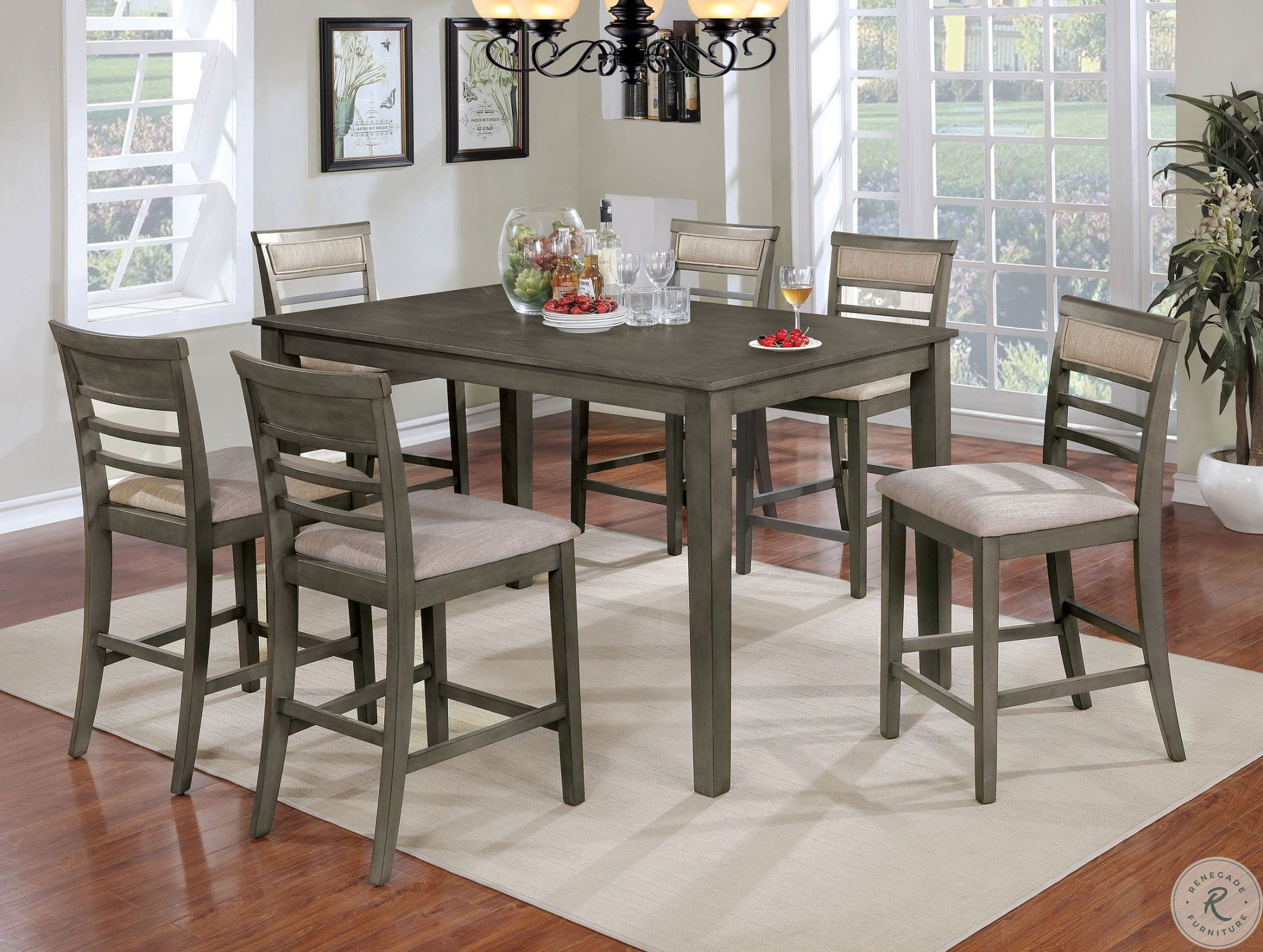 Fafnir Gray 7 Piece Counter Height Dining Room Set Inside 2017 Anette 3 Piece Counter Height Dining Sets (View 12 of 20)