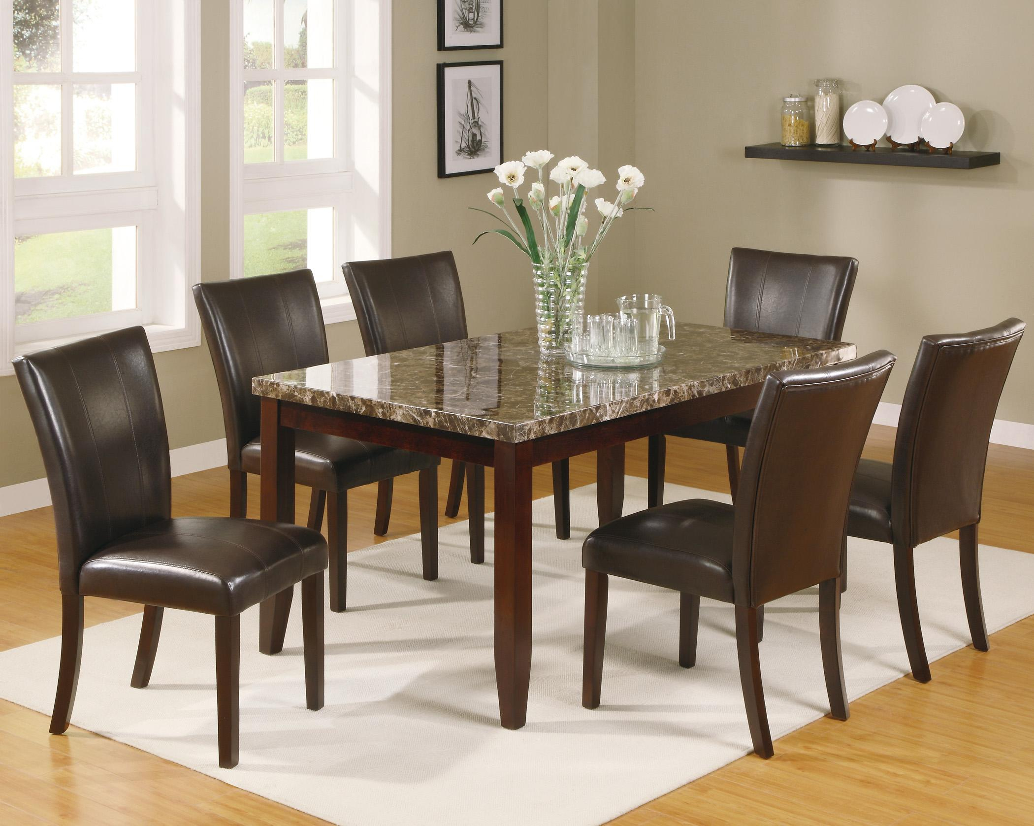 Ferrara 7 Piece Dining Table And Chairs Setcrown Mark At Dunk & Bright Furniture Throughout Newest Cargo 5 Piece Dining Sets (View 18 of 20)