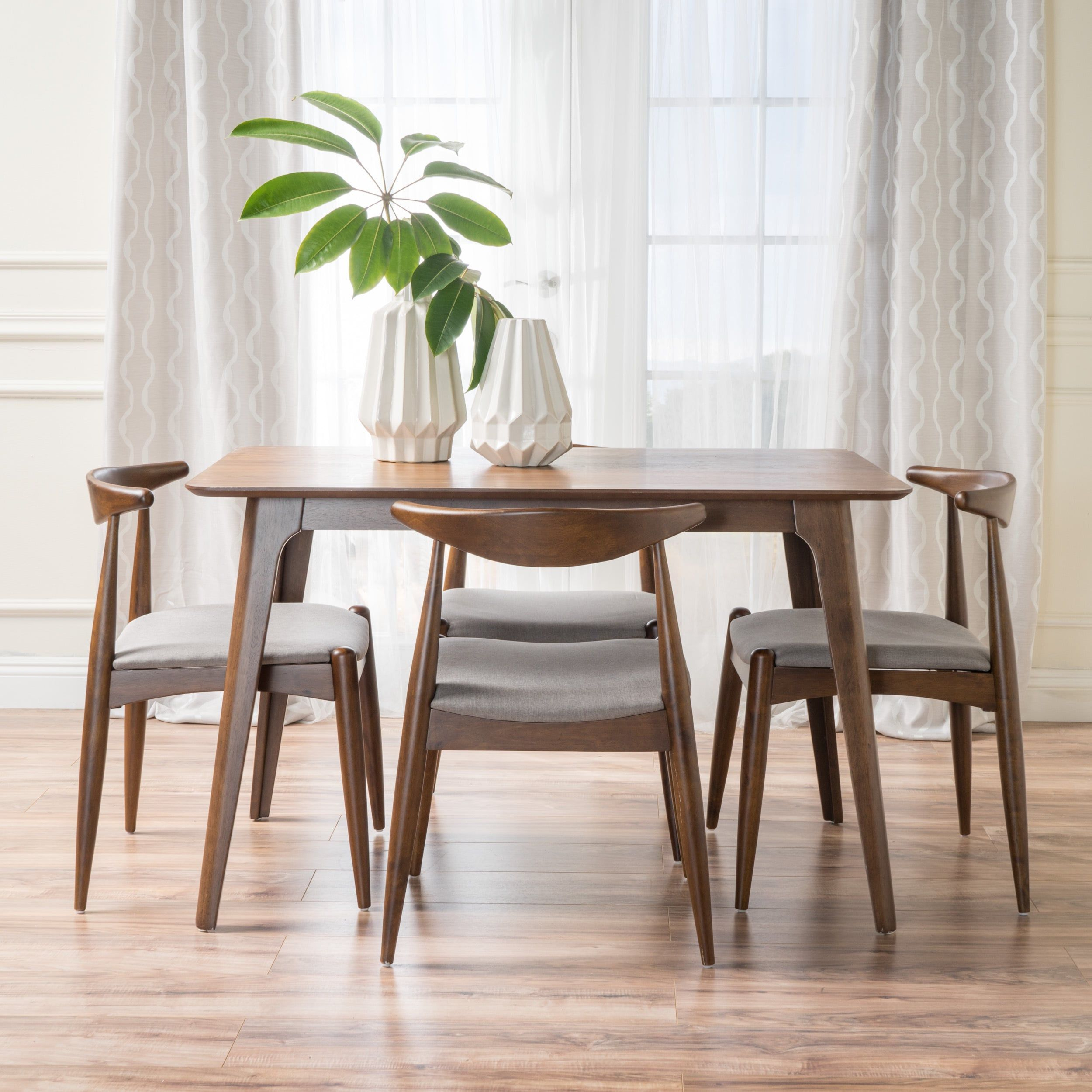 Francie Mid Century 5 Piece Large Wood Rectangular Dining Set Within Most Up To Date Autberry 5 Piece Dining Sets (Image 11 of 20)
