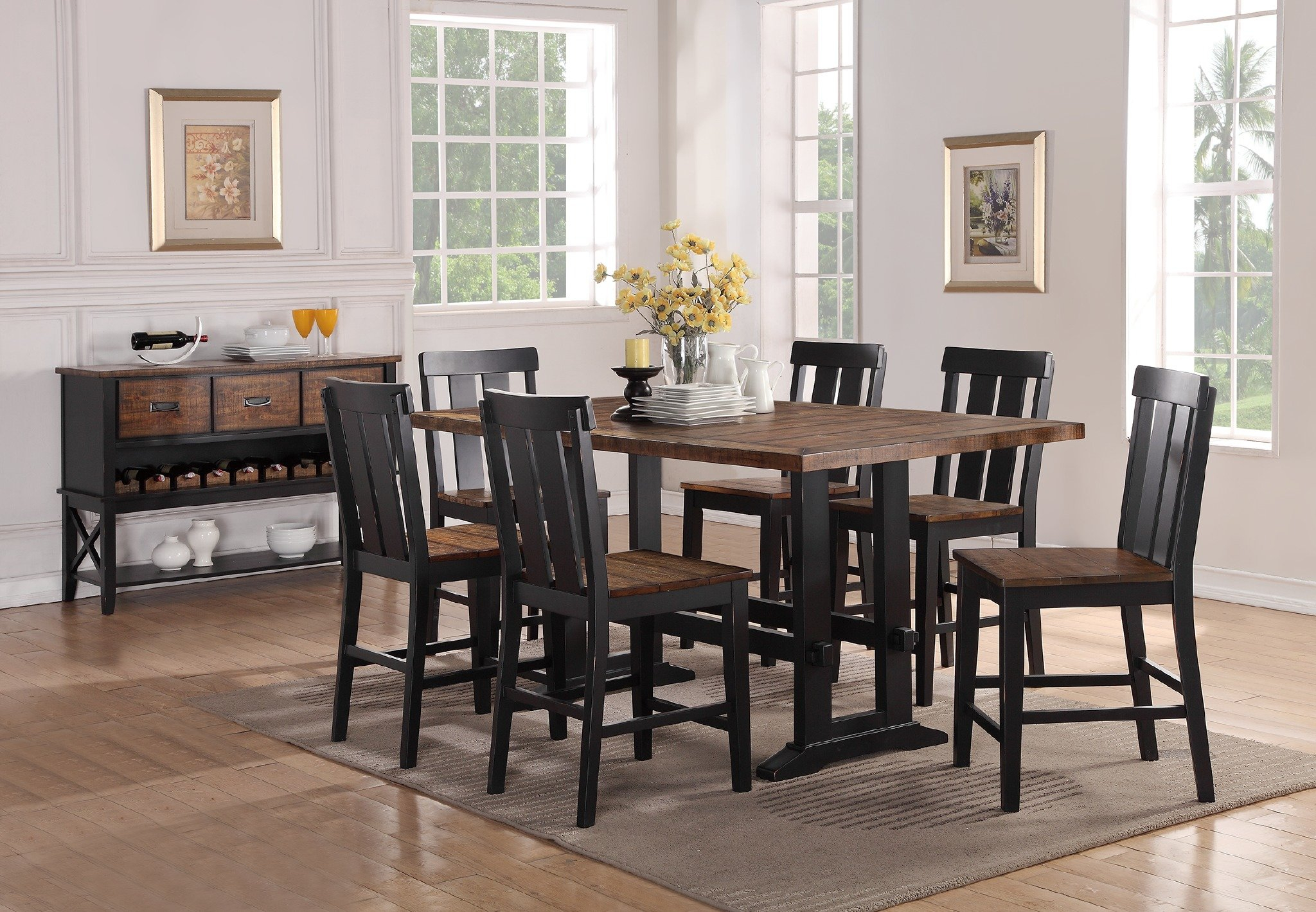 Furniture: Appealing 7 Piece Counter Height Dining Set With With Most Up To Date Goodman 5 Piece Solid Wood Dining Sets (Set Of 5) (Image 7 of 20)