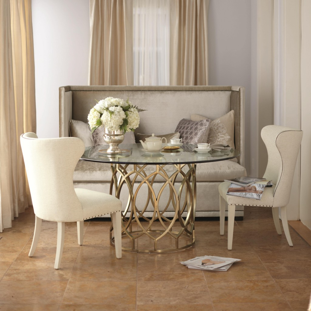 Furniture Cream Upholstered Bench With Tufted Back Using Lazy Boy Pertaining To Most Recent Partin 3 Piece Dining Sets (View 9 of 20)