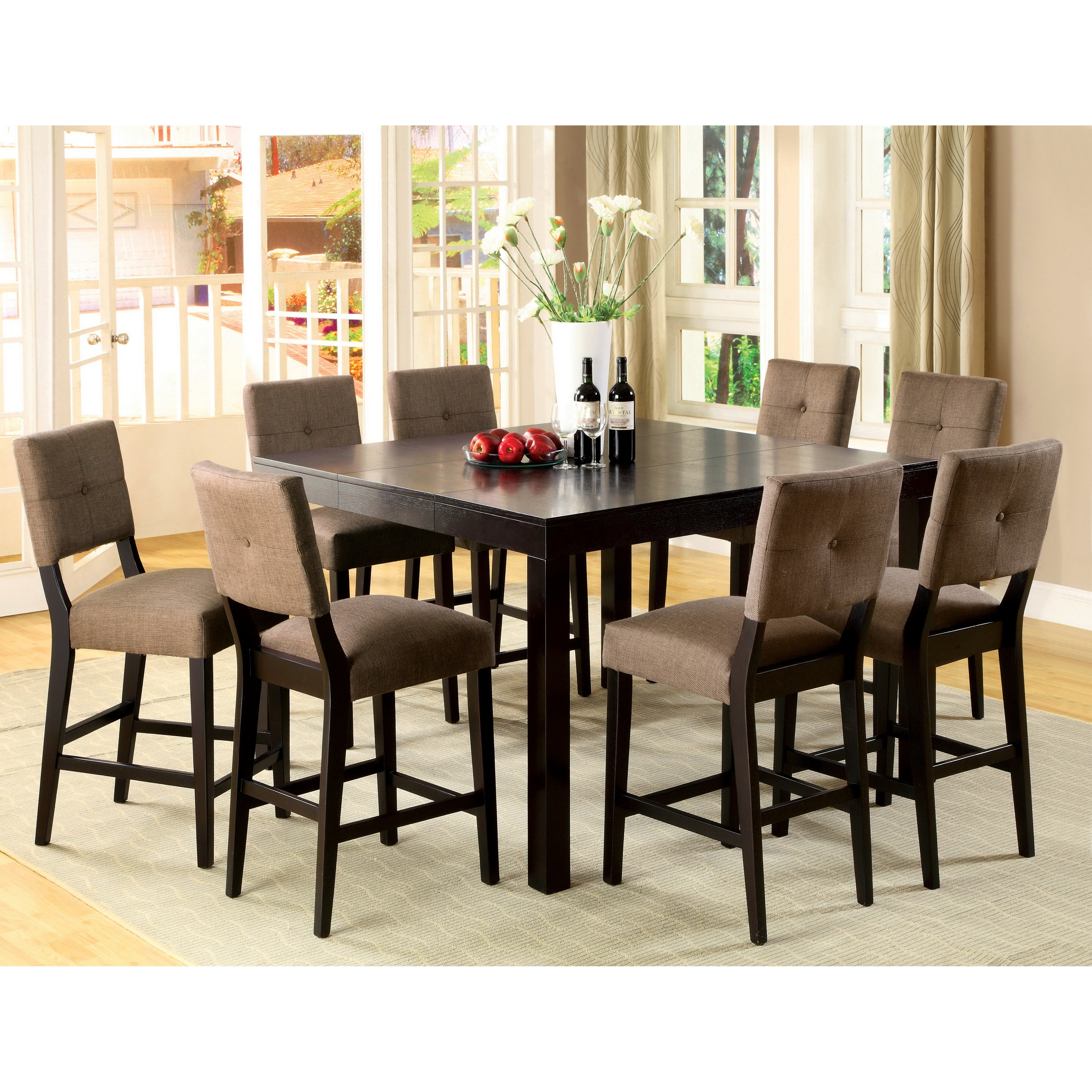 Furniture Of America Catherine Espresso Counter Height Dining Set Regarding Newest Wallflower 3 Piece Dining Sets (Image 2 of 20)