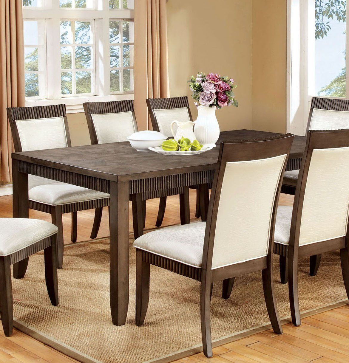 Furniture Of America Cm3435T Forbes I Transitional Gray Dining Table Throughout Recent Goodman 5 Piece Solid Wood Dining Sets (Set Of 5) (Image 6 of 20)