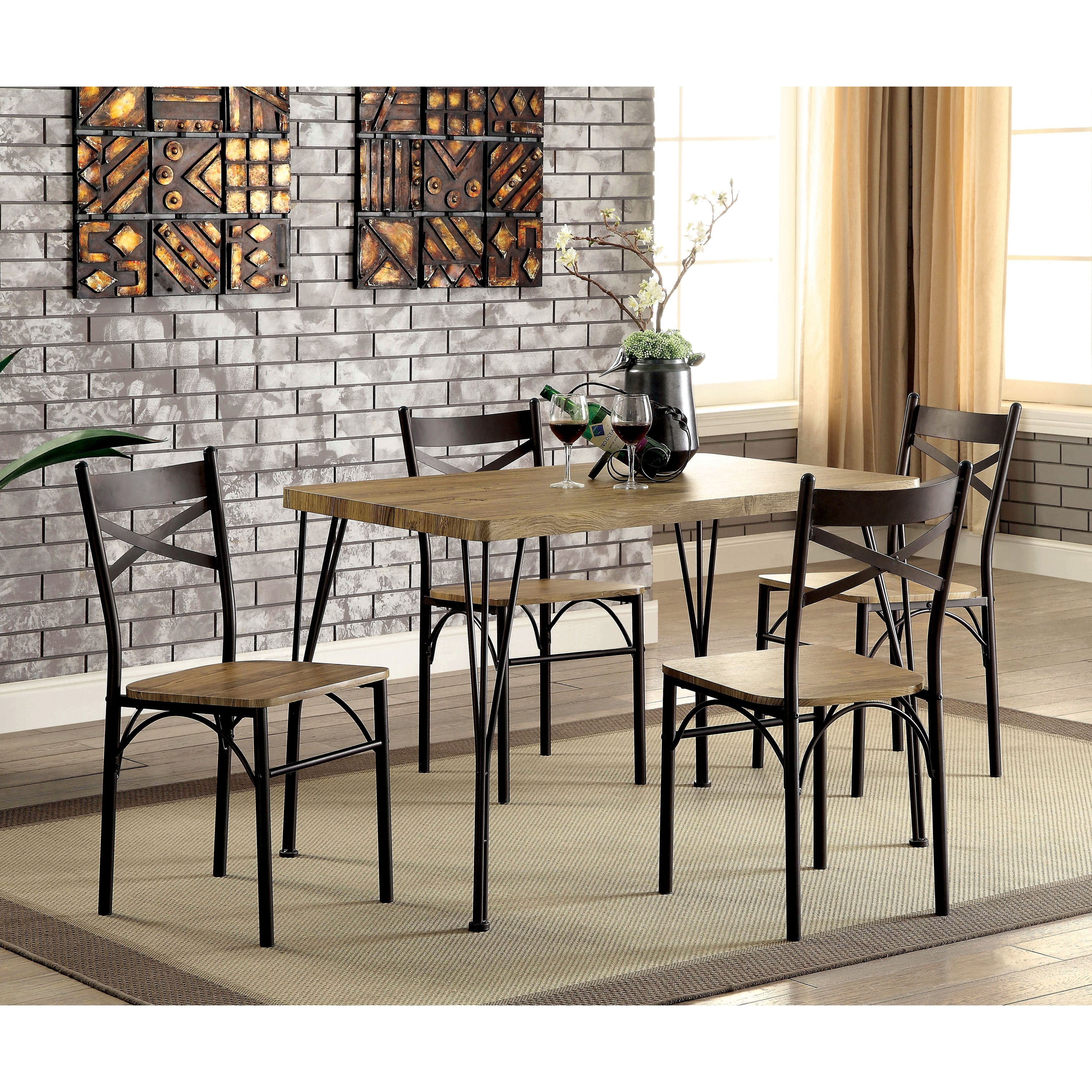 Furniture Of America Hathway Industrial 5 Piece Dark Bronze Small Inside Best And Newest Casiano 5 Piece Dining Sets (View 17 of 20)