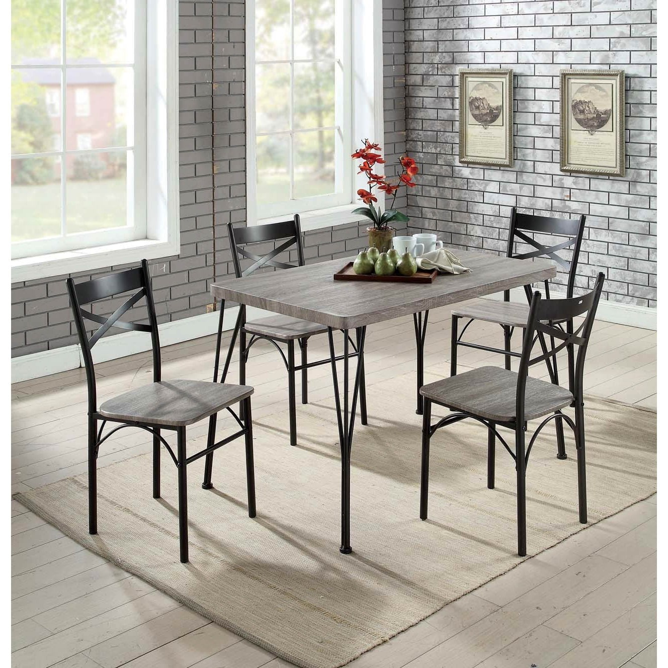 Furniture Of America Hathway Industrial 5 Piece Dark Bronze Small Pertaining To Latest Bearden 3 Piece Dining Sets (Photo 20 of 20)