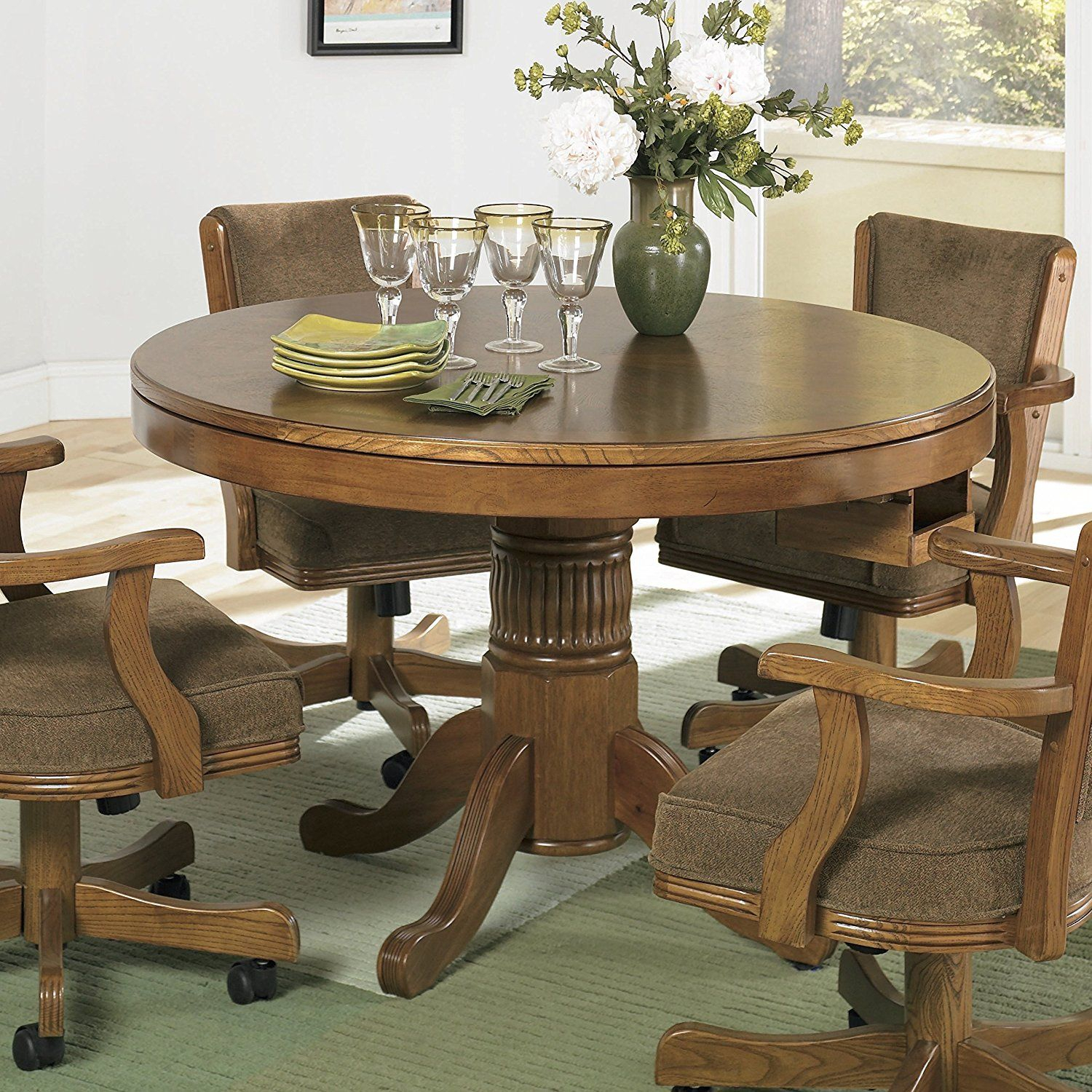 Game Table Chairs With Casters | Office Regarding Most Up To Date Tarleton 5 Piece Dining Sets (View 13 of 20)