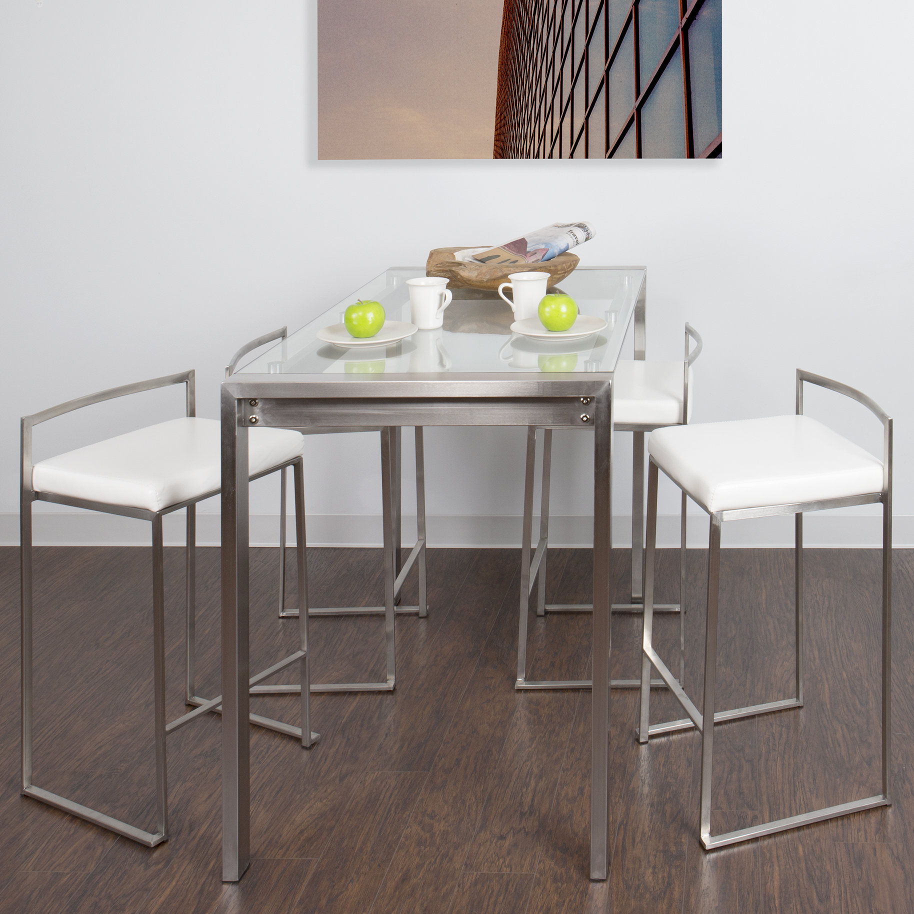 Gary 5 Piece Counter Height Dining Set With Most Current Mizpah 3 Piece Counter Height Dining Sets (Image 11 of 20)