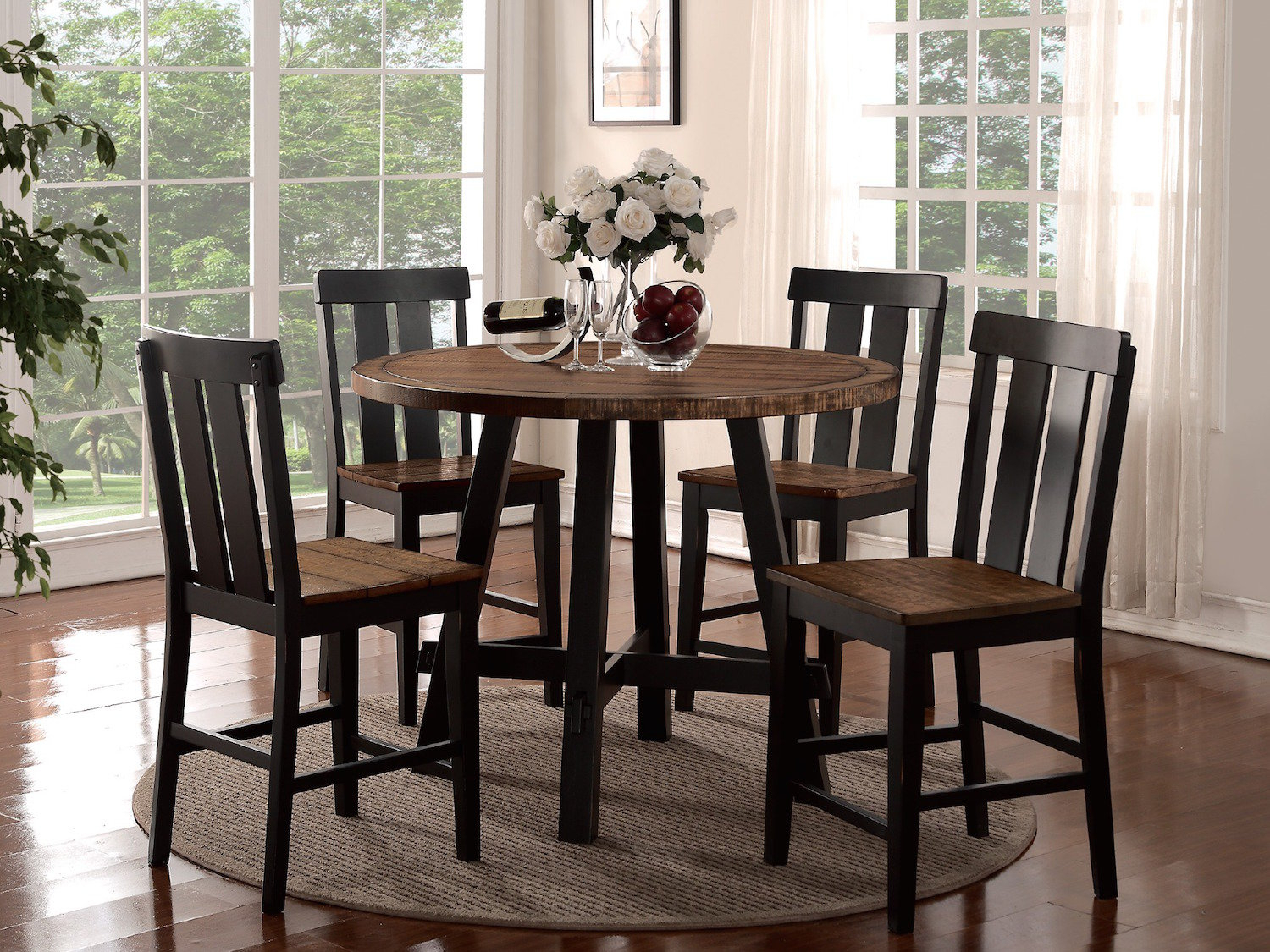 Featured Image of Goodman 5 Piece Solid Wood Dining Sets (Set Of 5)