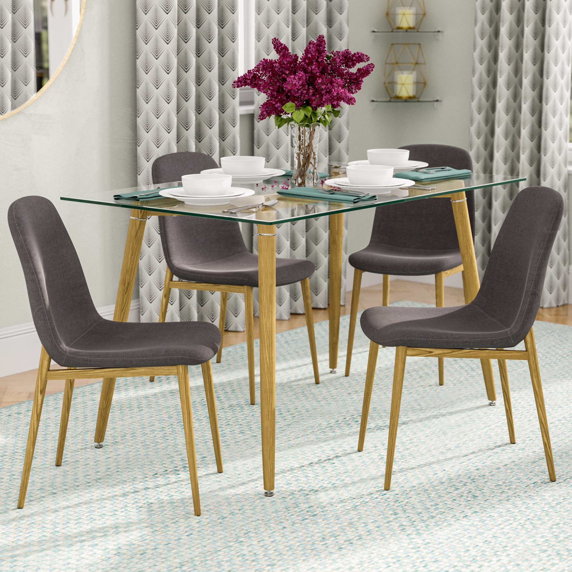 Goodman 5 Piece Dining Set Inside Most Recently Released Goodman 5 Piece Solid Wood Dining Sets (Set Of 5) (Image 9 of 20)