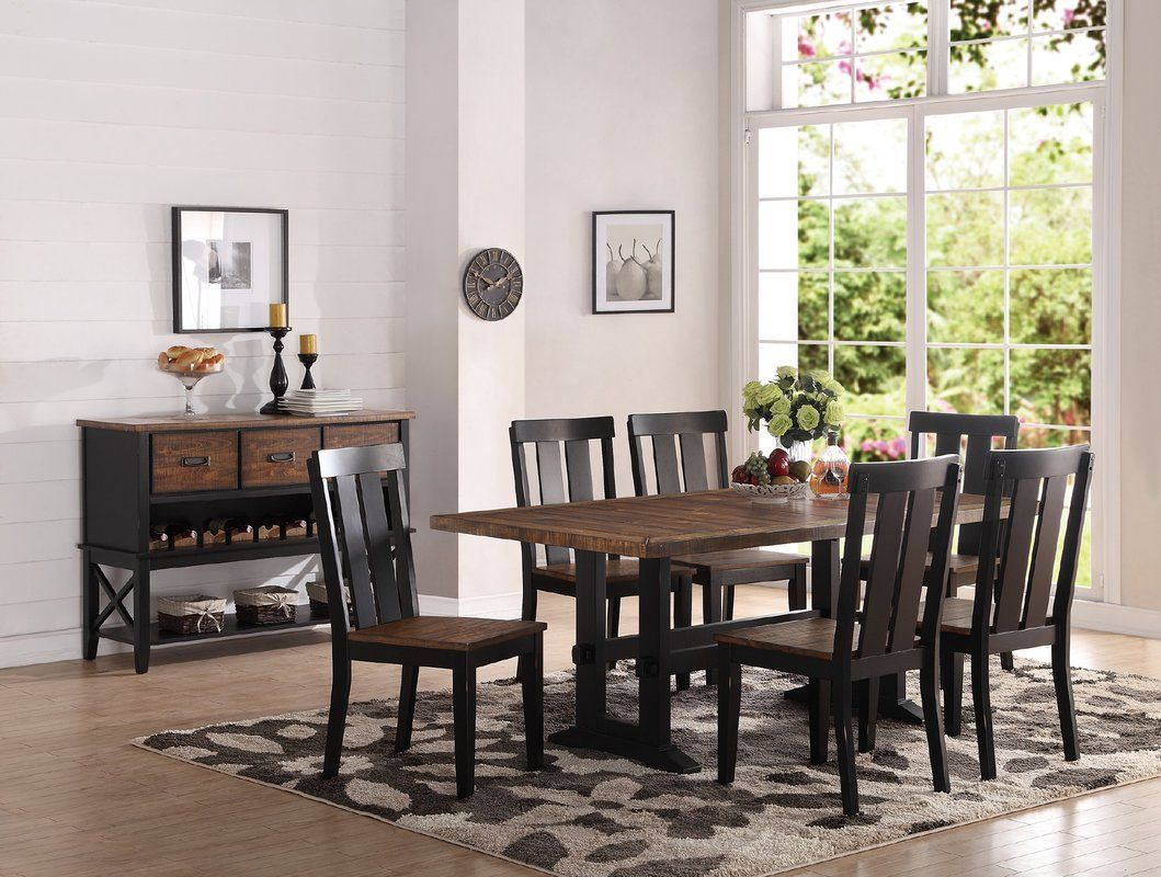 Goodman 7 Piece Dining Set | For The Apartment | Wooden Dining Set Within 2018 Goodman 5 Piece Solid Wood Dining Sets (Set Of 5) (Image 11 of 20)