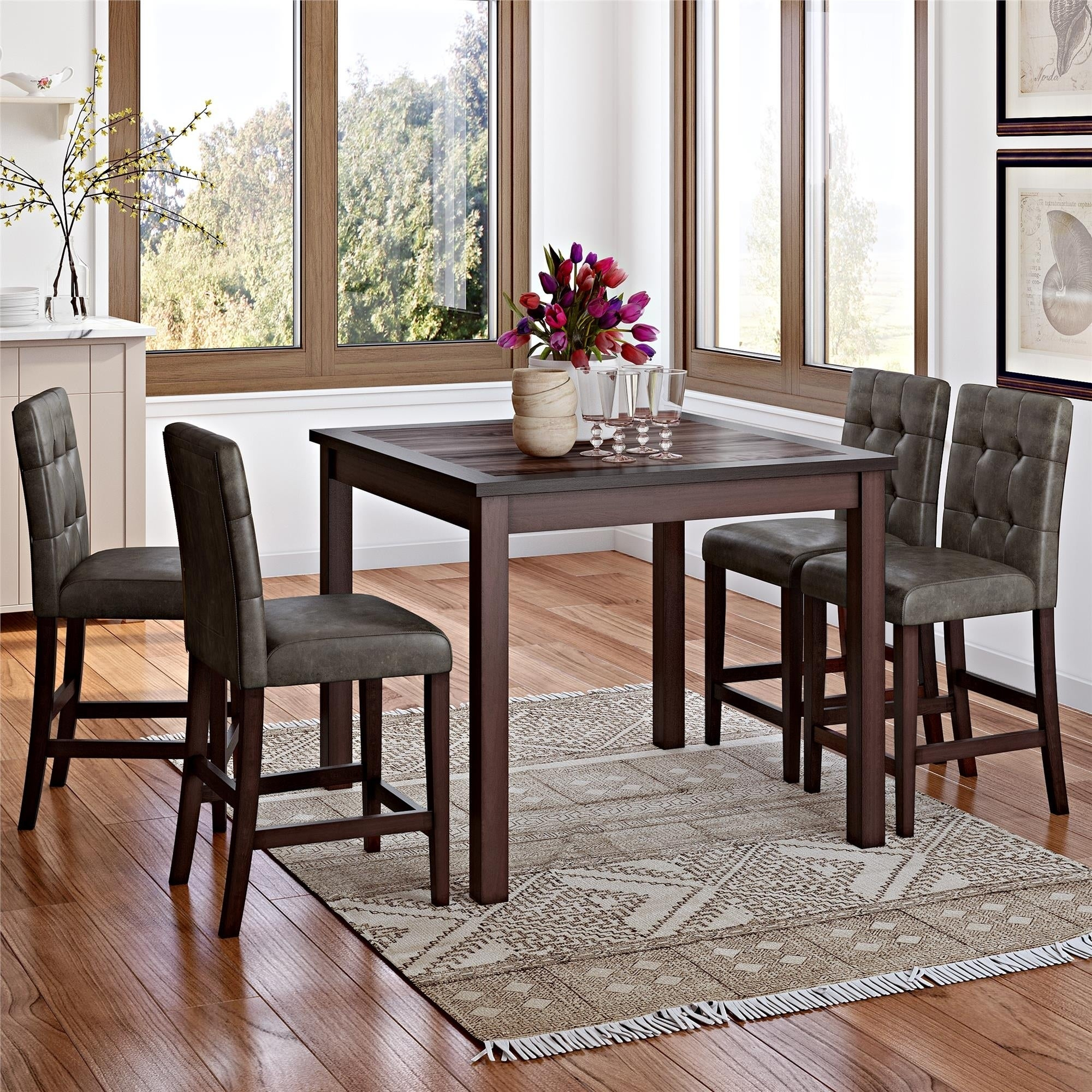 Gracewood Hollow Betancourt Espresso 5 Piece Counter Height Dining Set Pertaining To Best And Newest Bettencourt 3 Piece Counter Height Solid Wood Dining Sets (View 18 of 20)