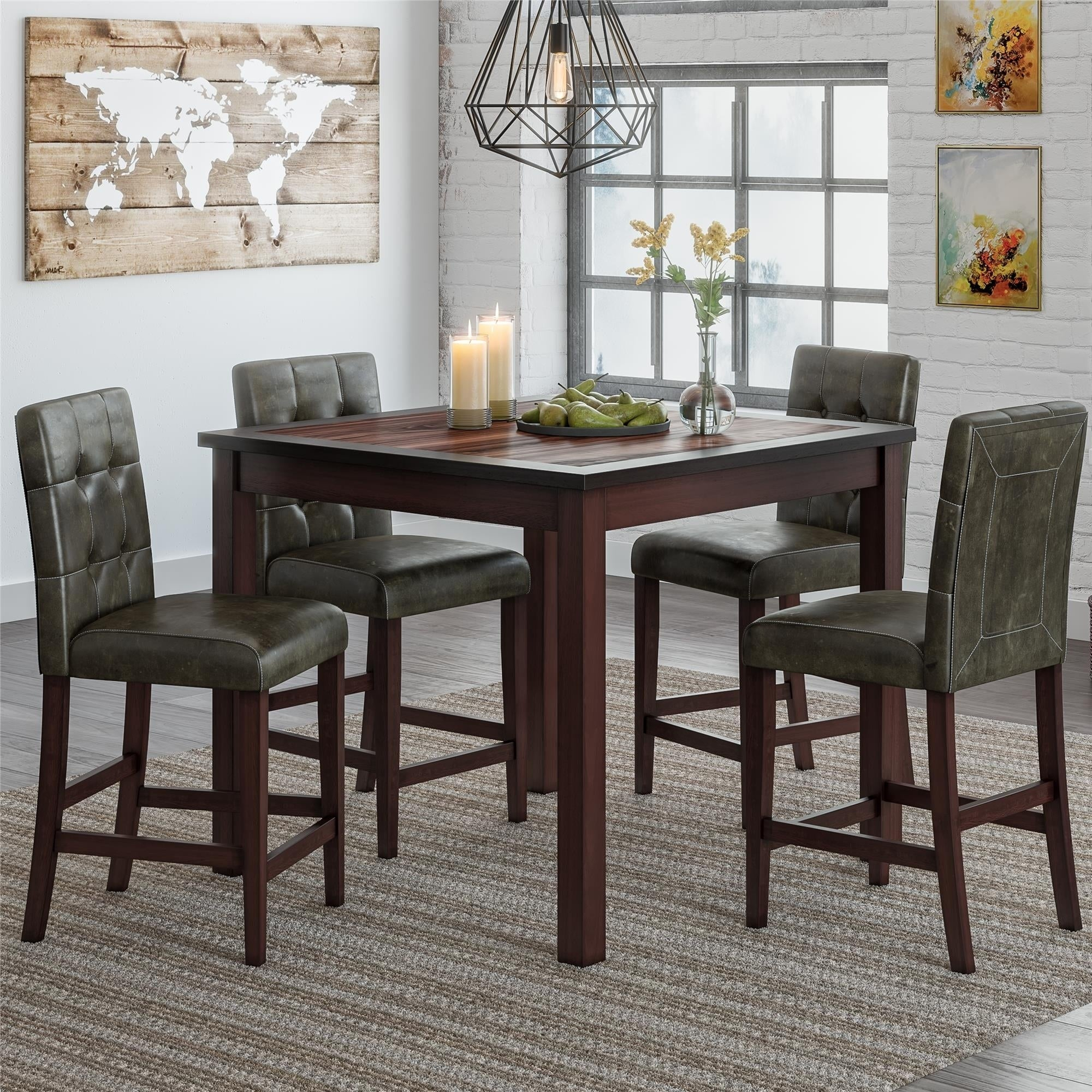 Gracewood Hollow Betancourt Espresso 5 Piece Counter Height Dining Set With Regard To Most Recent Bettencourt 3 Piece Counter Height Solid Wood Dining Sets (View 19 of 20)