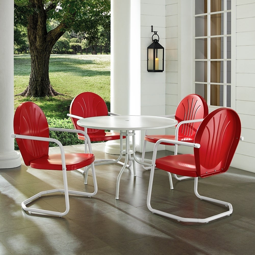 "Griffith Metal Five Piece Outdoor Dining Set – 39"" Dining Table In White Finish With Red Finish Chairs Within Current Bate Red Retro 3 Piece Dining Sets (View 2 of 20)"