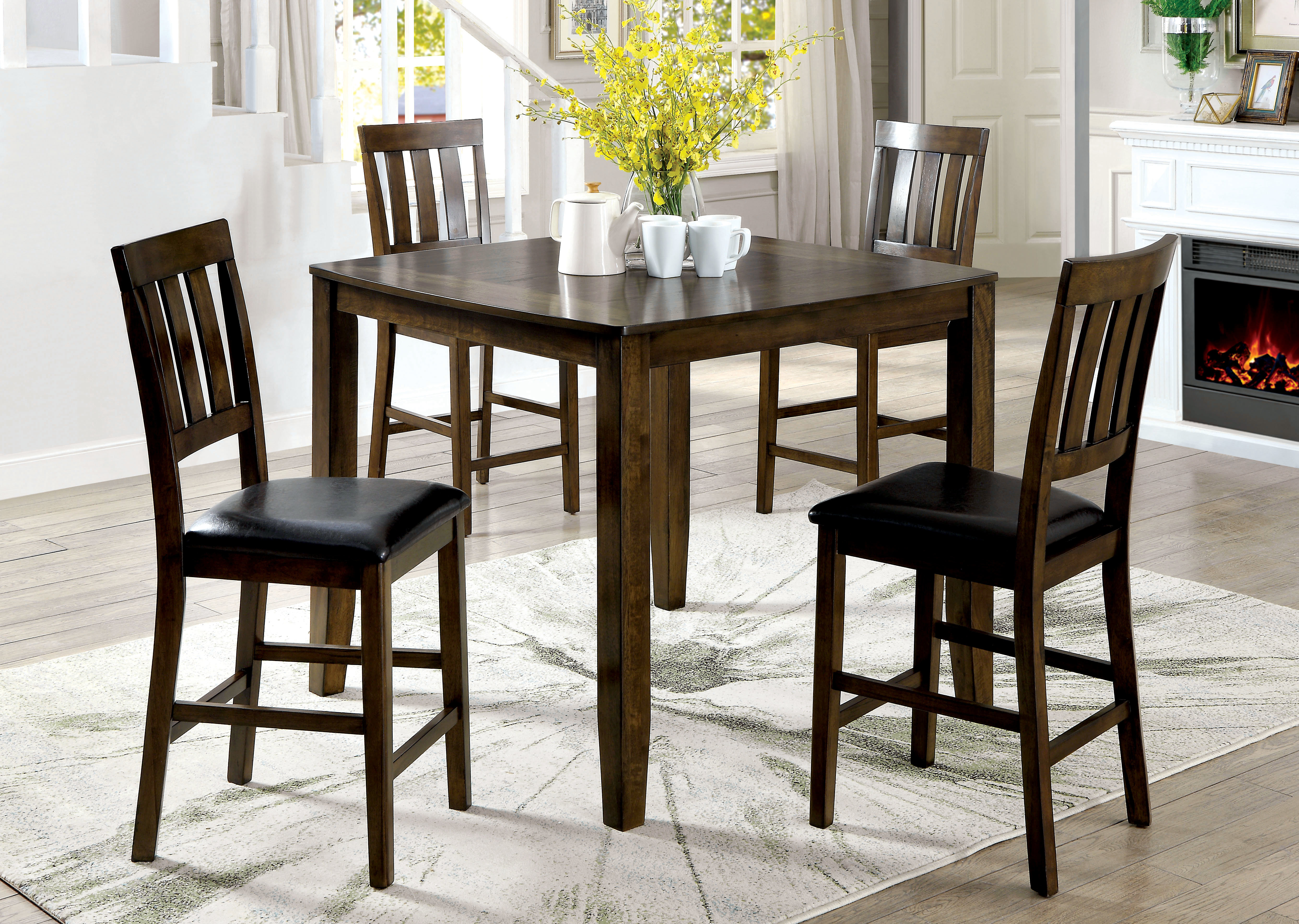 Guevara Transitional 5 Piece Counter Height Dining Set For Best And Newest Tavarez 5 Piece Dining Sets (Image 9 of 20)