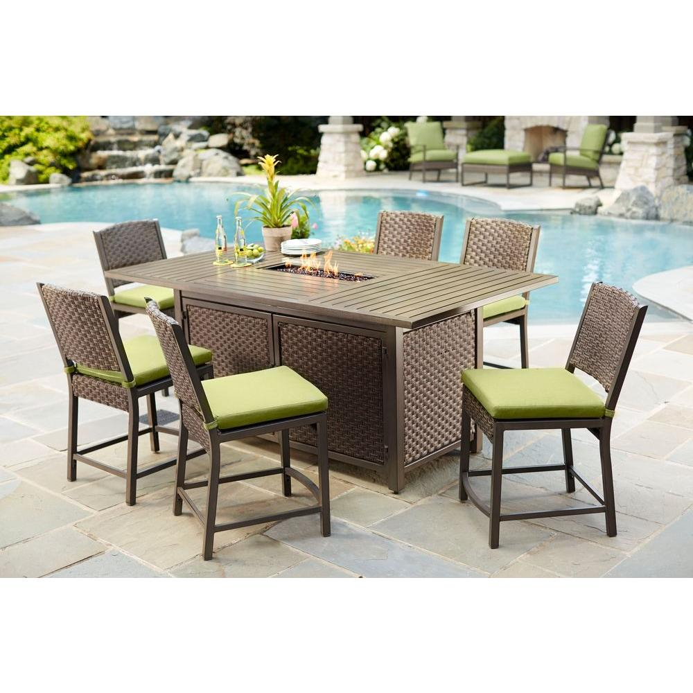 Hampton Bay Carol Stream 7 Piece Balcony High Patio Dining Set Inside Most Recently Released Aria 5 Piece Dining Sets (View 18 of 20)