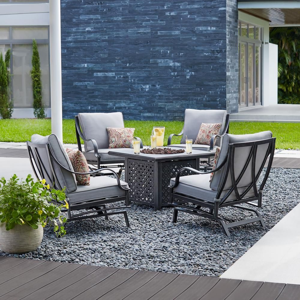 Hampton Bay Highland Point 5 Piece Aluminum And Steel Patio Fire Pit Throughout Latest Reinert 5 Piece Dining Sets (View 17 of 20)