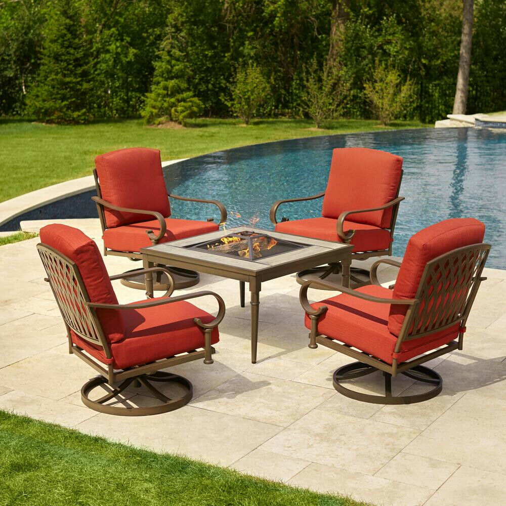 Hampton Bay Oak 5 Piece Metal Patio Fire Pit Conversation Set Chili Cushions With Most Current Aria 5 Piece Dining Sets (View 6 of 20)