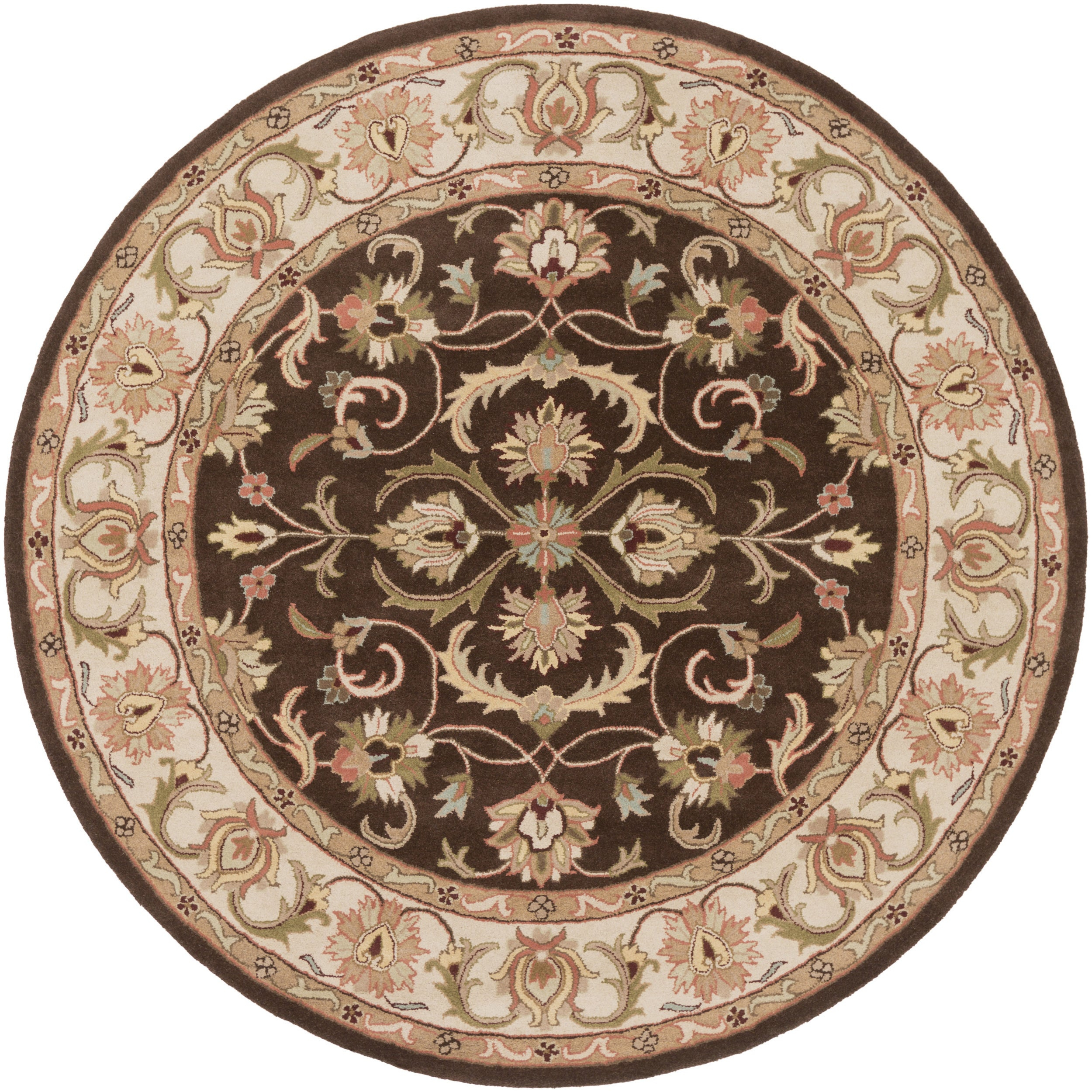 "Hand Tufted Askern Border Wool Area Rug – 3'6"" Round With Most Current Askern 3 Piece Counter Height Dining Sets (Set Of 3) (View 17 of 20)"